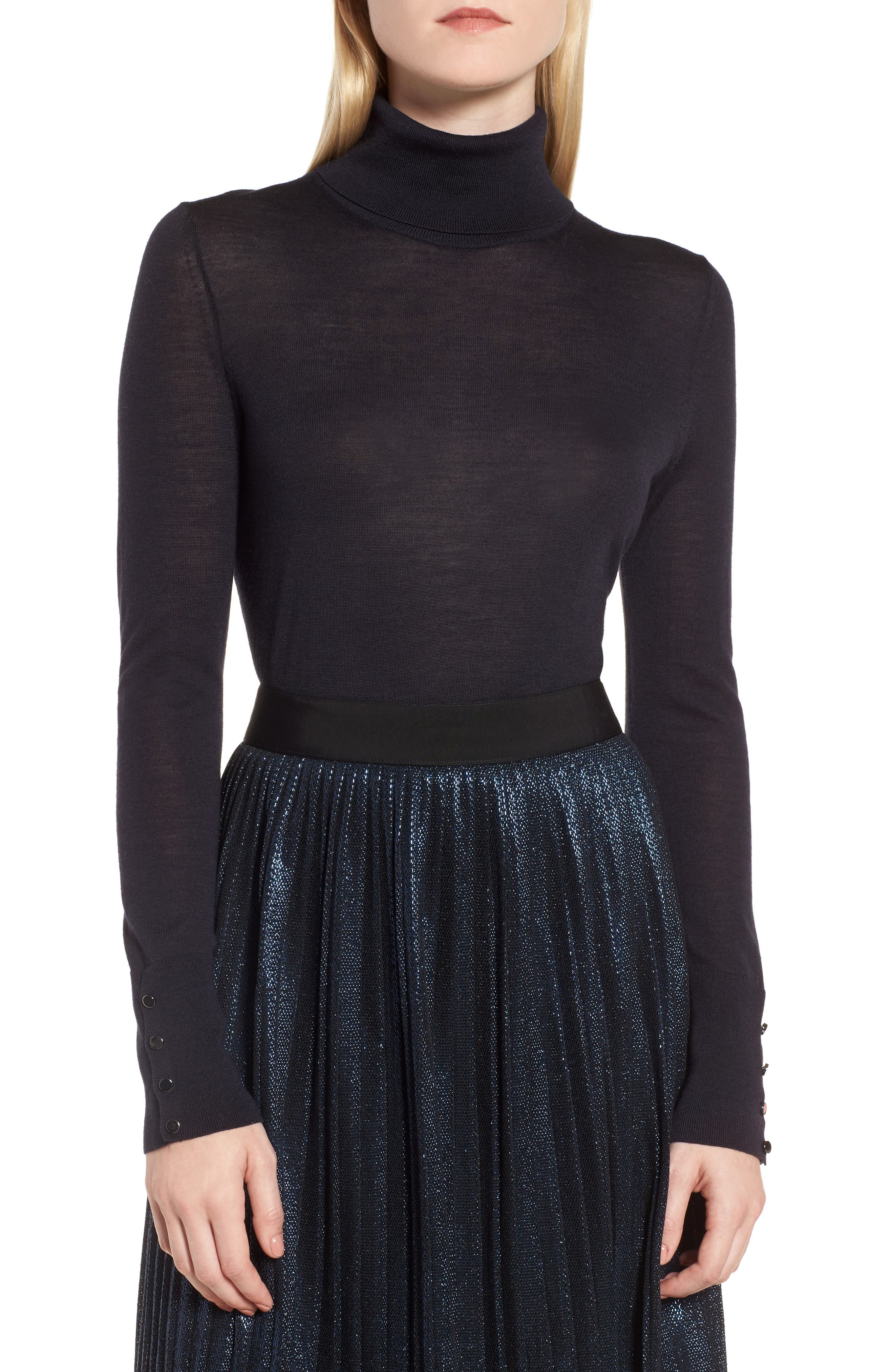Farrella Wool Turtleneck Sweater,                         Main,                         color, Navy