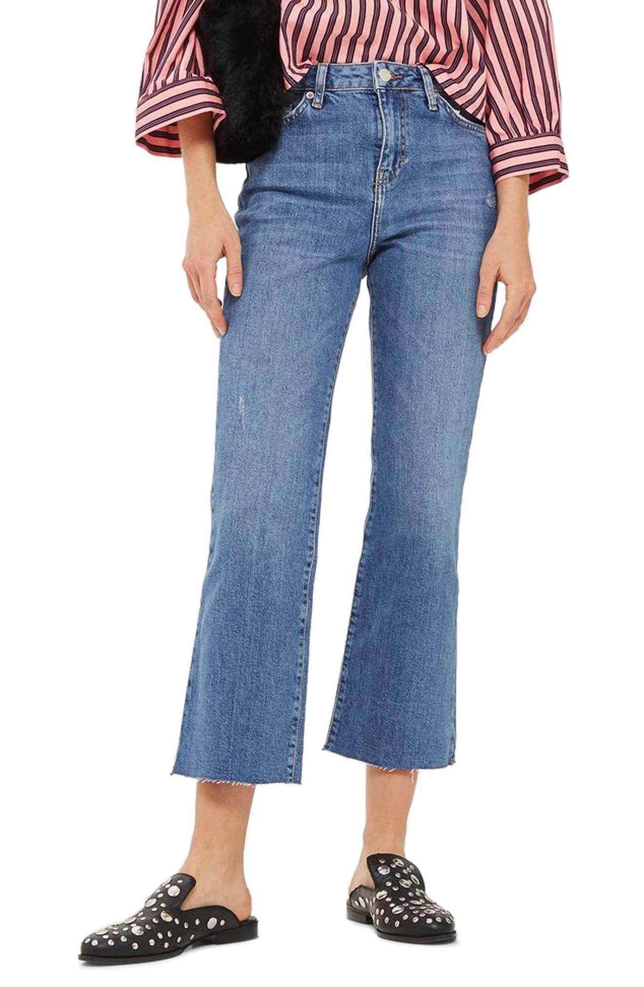 Dree Crop Flare Jeans,                         Main,                         color, Mid Denim