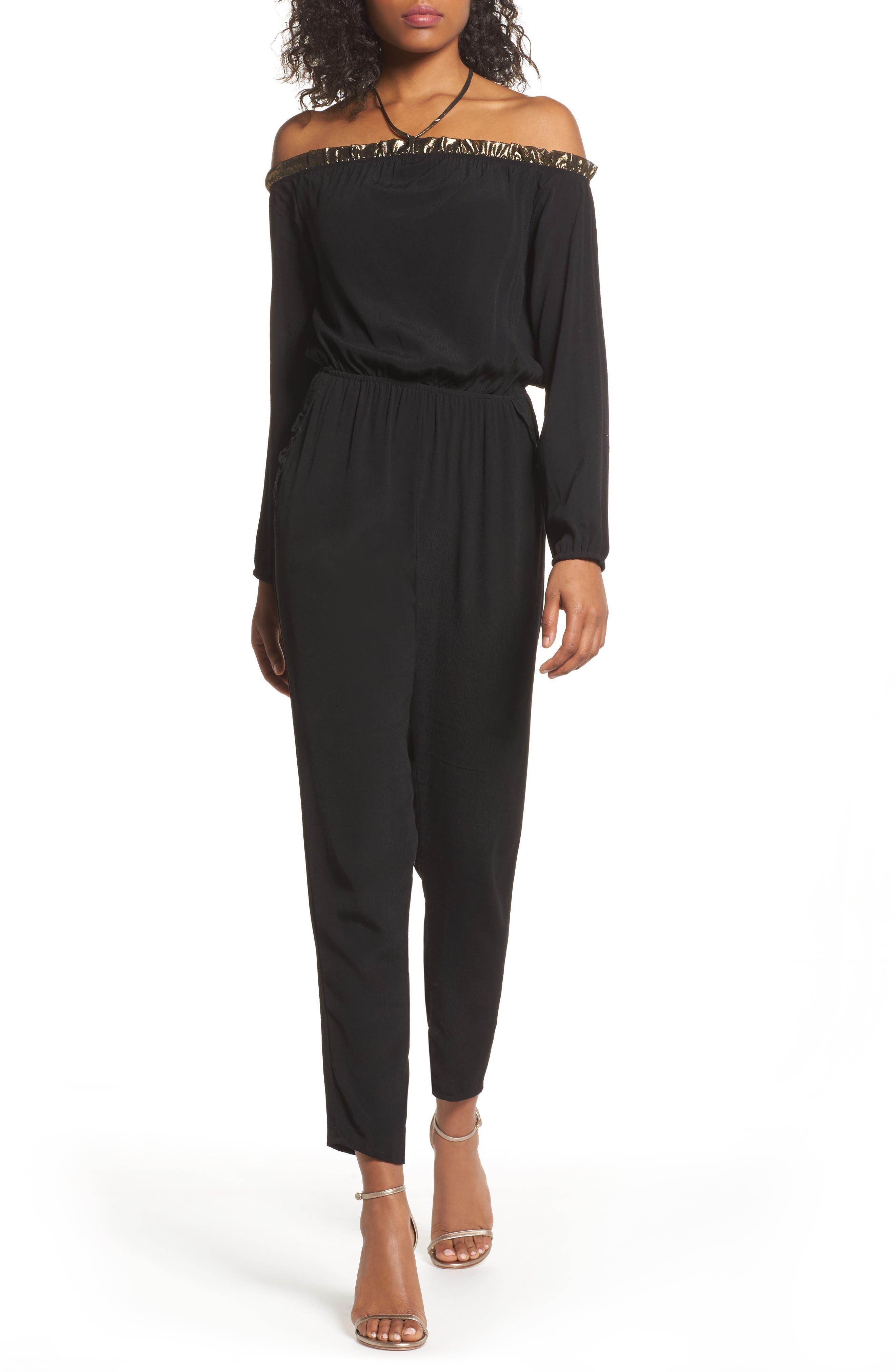 Cold Shoulder Jumpsuit,                         Main,                         color, Black Gold