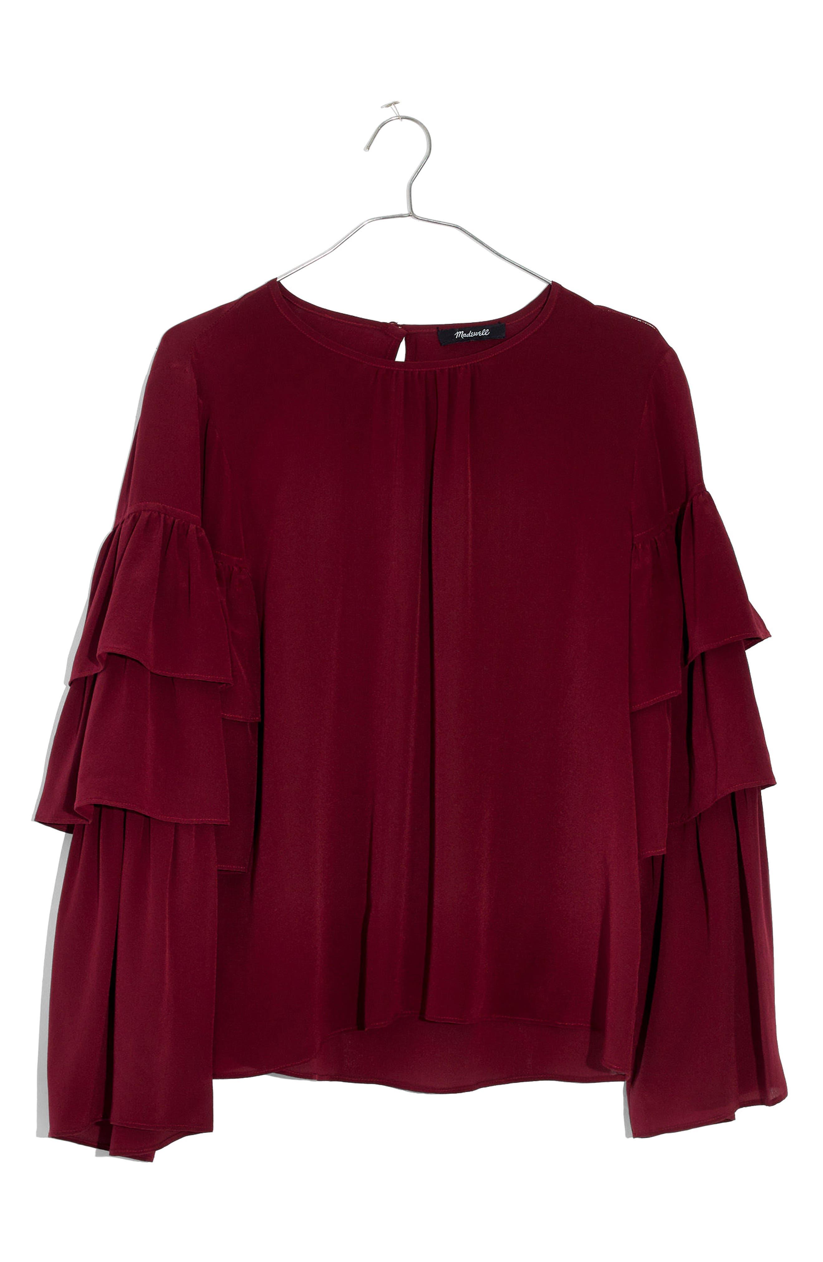 Ruffle Sleeve Silk Top,                             Main thumbnail 1, color,                             Dusty Burgundy