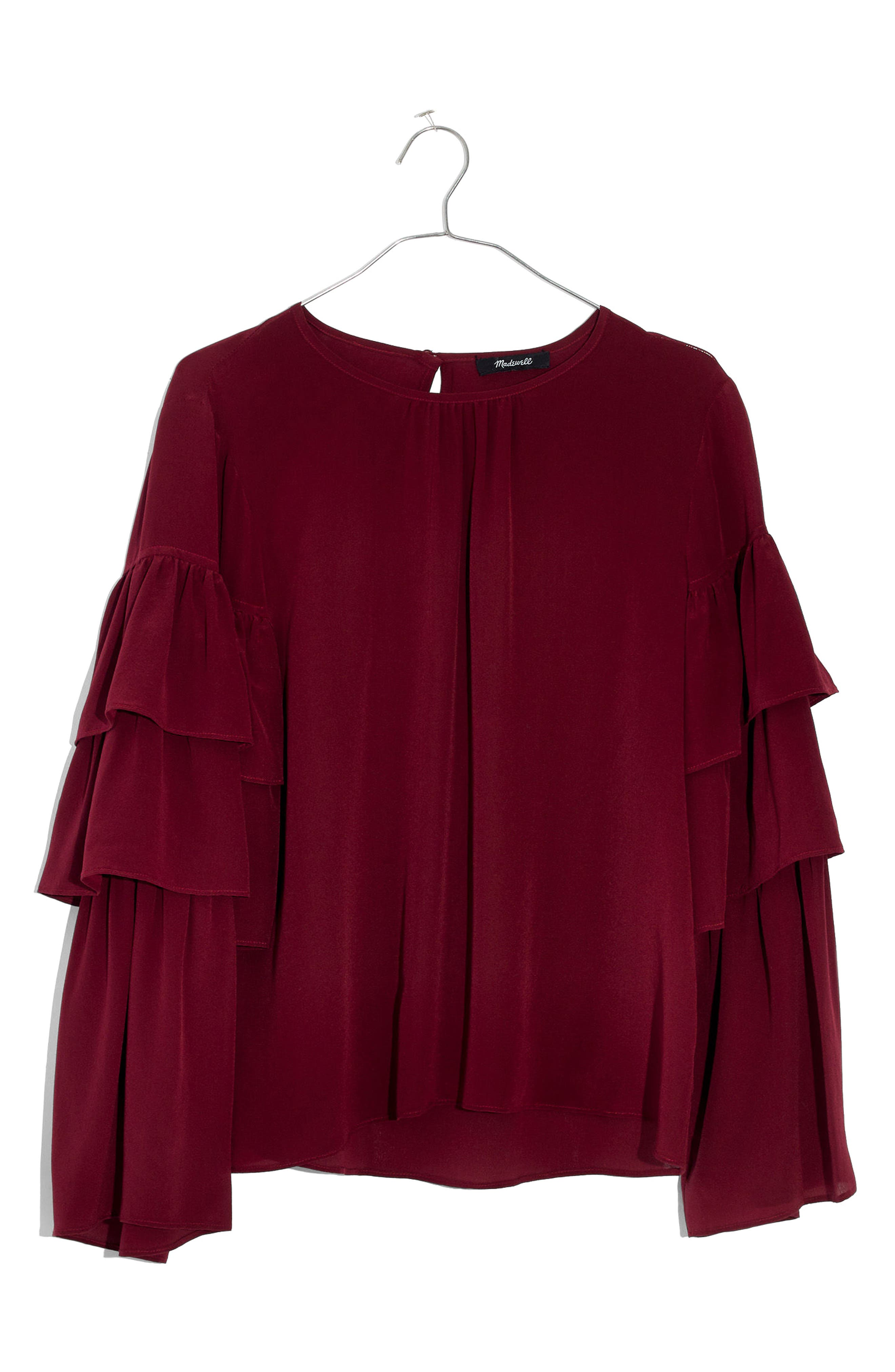 Main Image - Madewell Ruffle Sleeve Silk Top