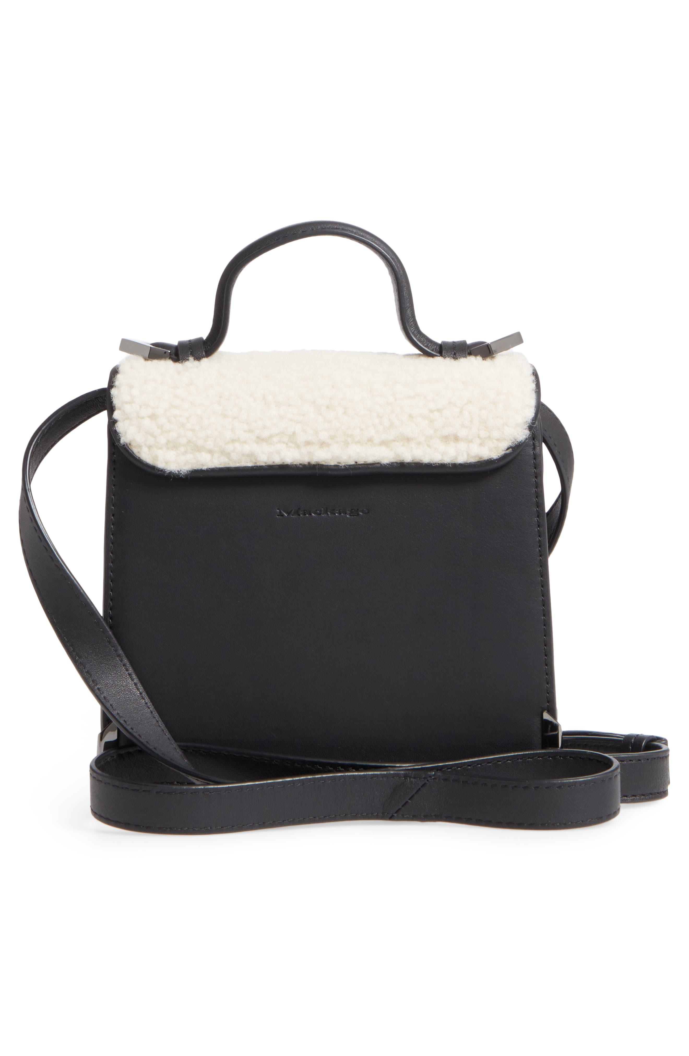 Mini Rubie Genuine Shearling Crossbody Bag,                             Alternate thumbnail 3, color,                             Black/ Cream