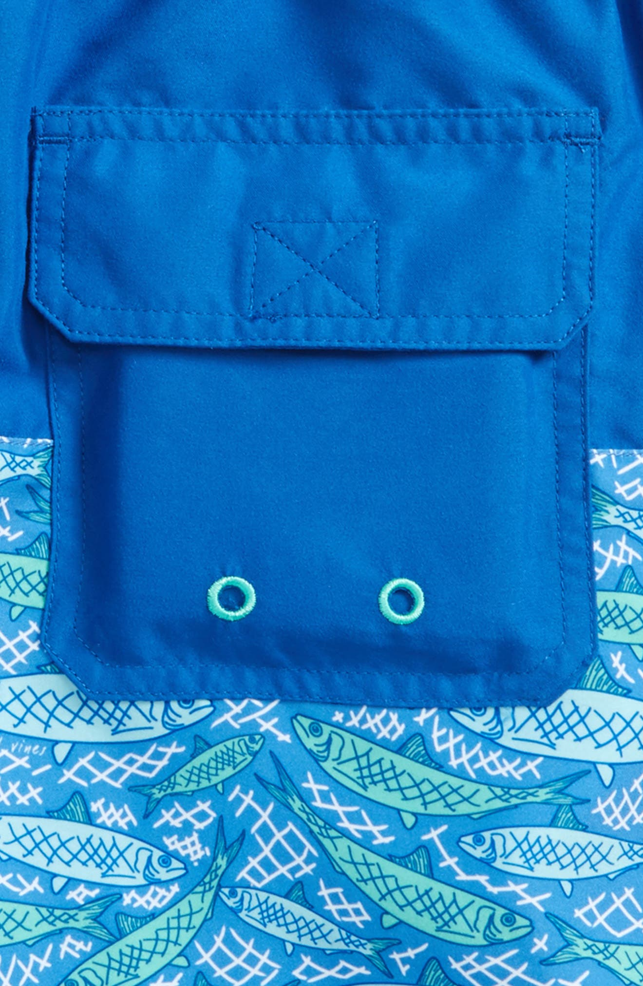 Fish Scale Chappy Swim Trunks,                             Alternate thumbnail 3, color,                             Yacht Blue