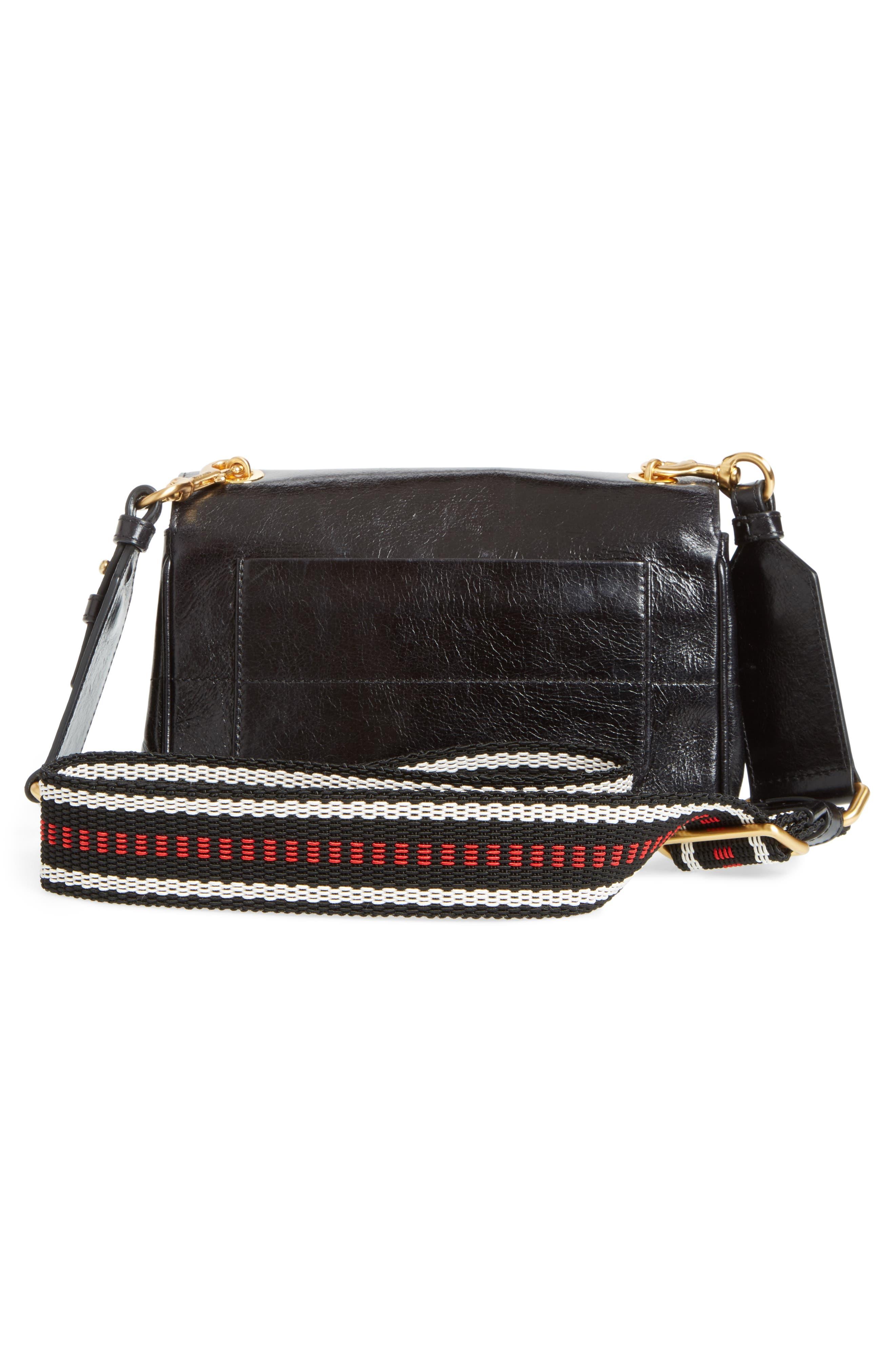 Logo Calfskin Leather Crossbody Bag,                             Alternate thumbnail 3, color,                             Black