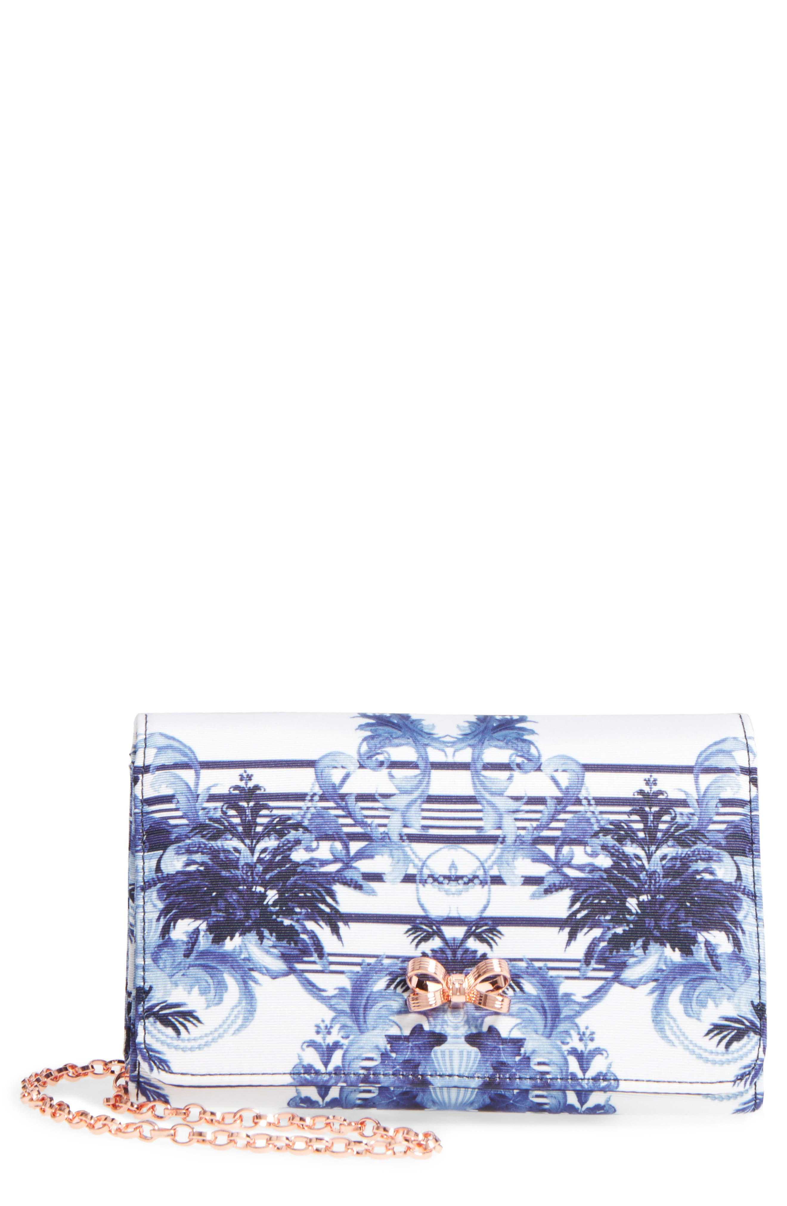 Main Image - Ted Baker London Print Grosgrain Clutch