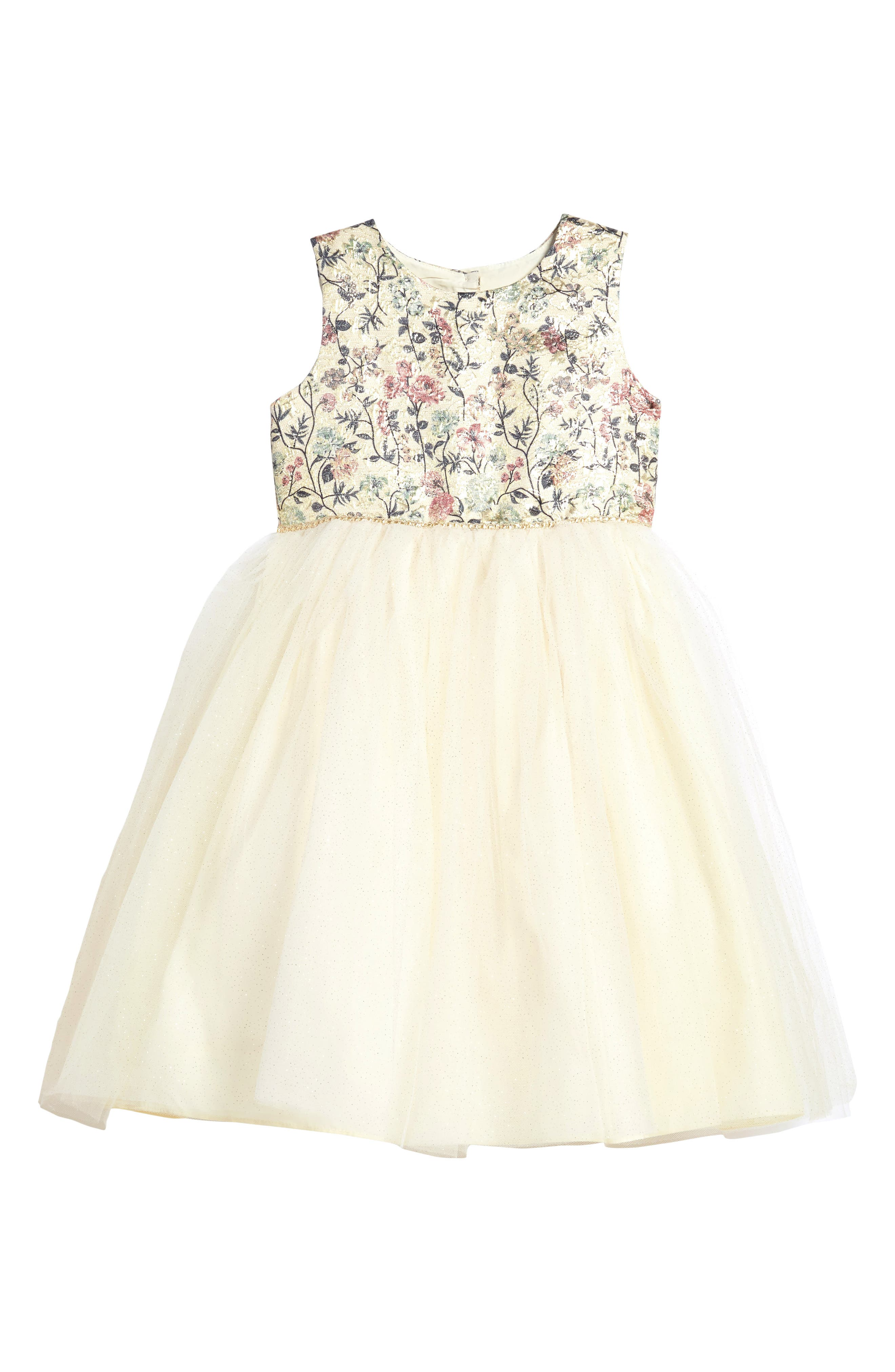 Main Image - Pippa & Julie Floral Brocade & Tulle Dress (Toddler Girls, Little Girls & Big Girls)