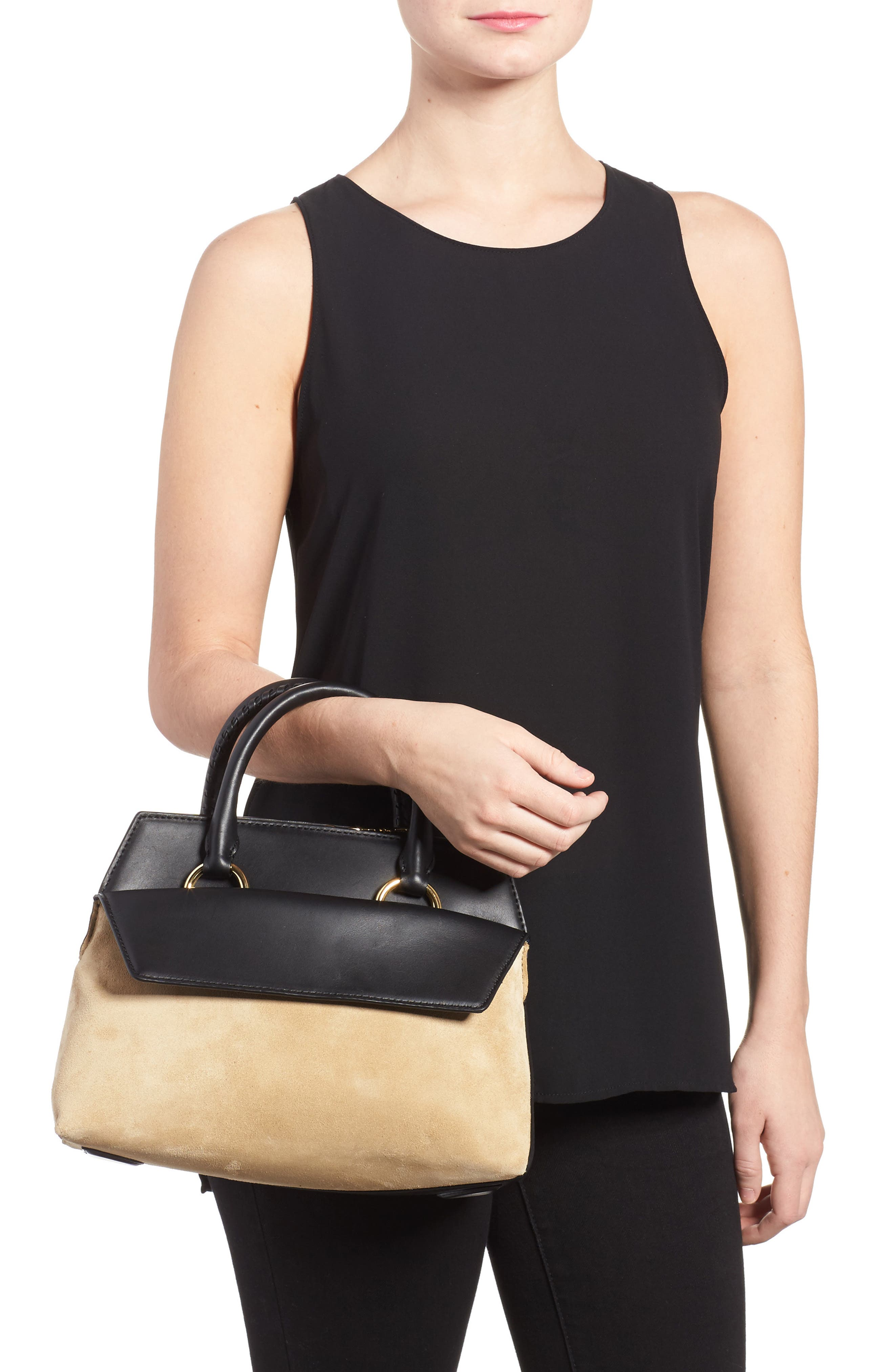 Small Leather & Suede Satchel,                             Alternate thumbnail 2, color,                             Black