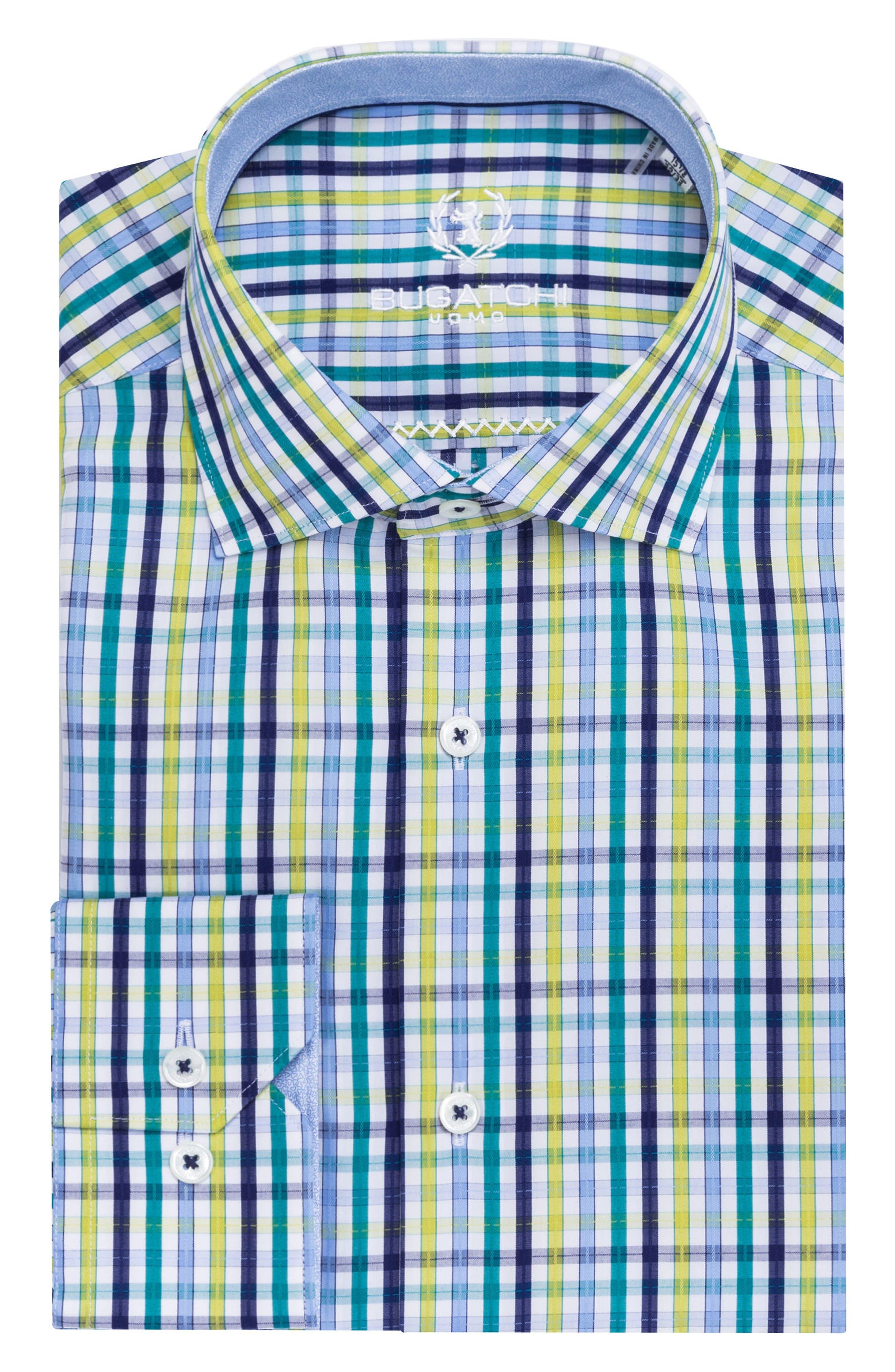Trim Fit Plaid Dress Shirt,                             Main thumbnail 1, color,                             Emerald