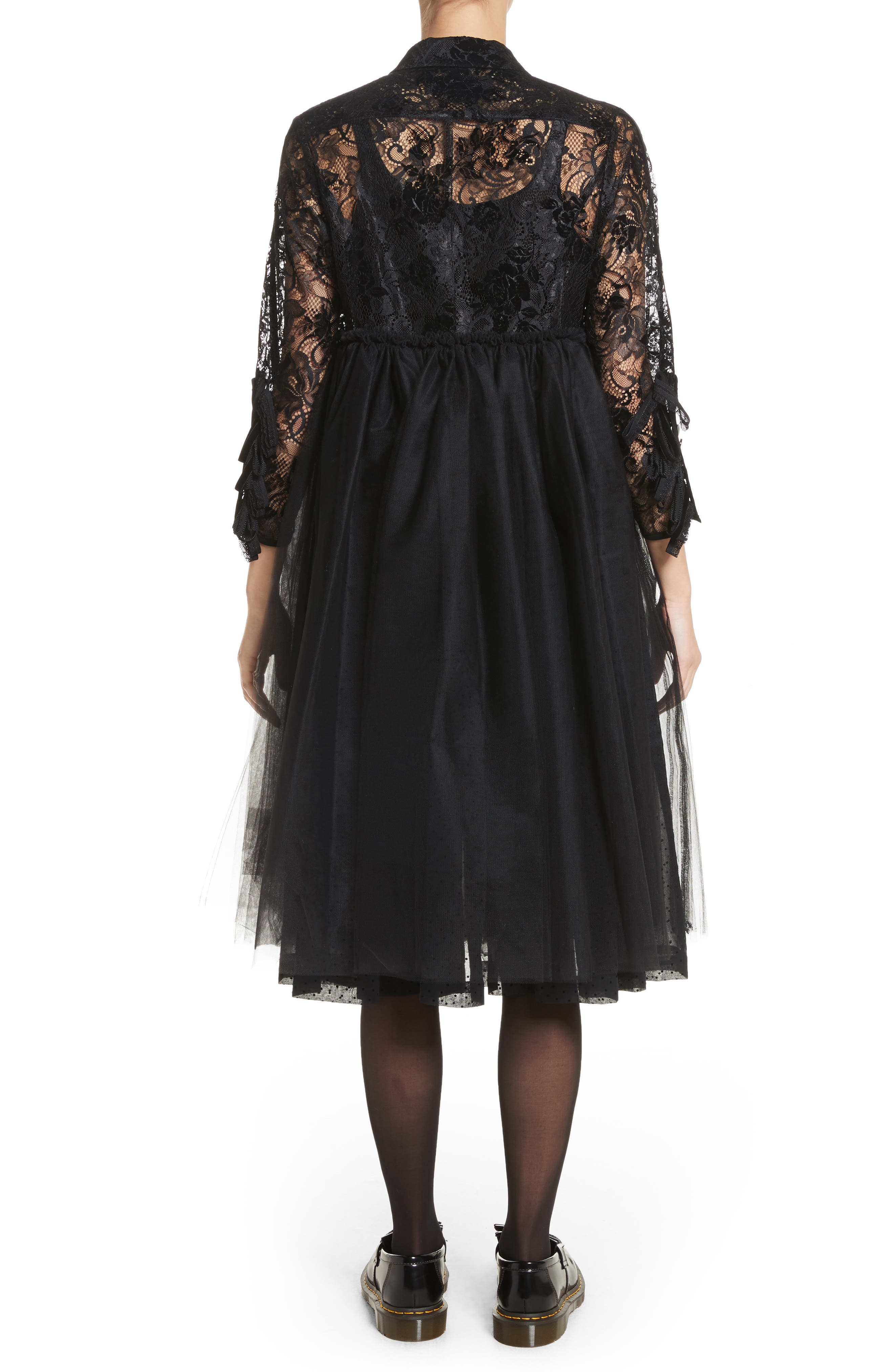 Lace Bodice Shirtdress with Tulle Skirt,                             Alternate thumbnail 2, color,                             Blk/Blk X Blk
