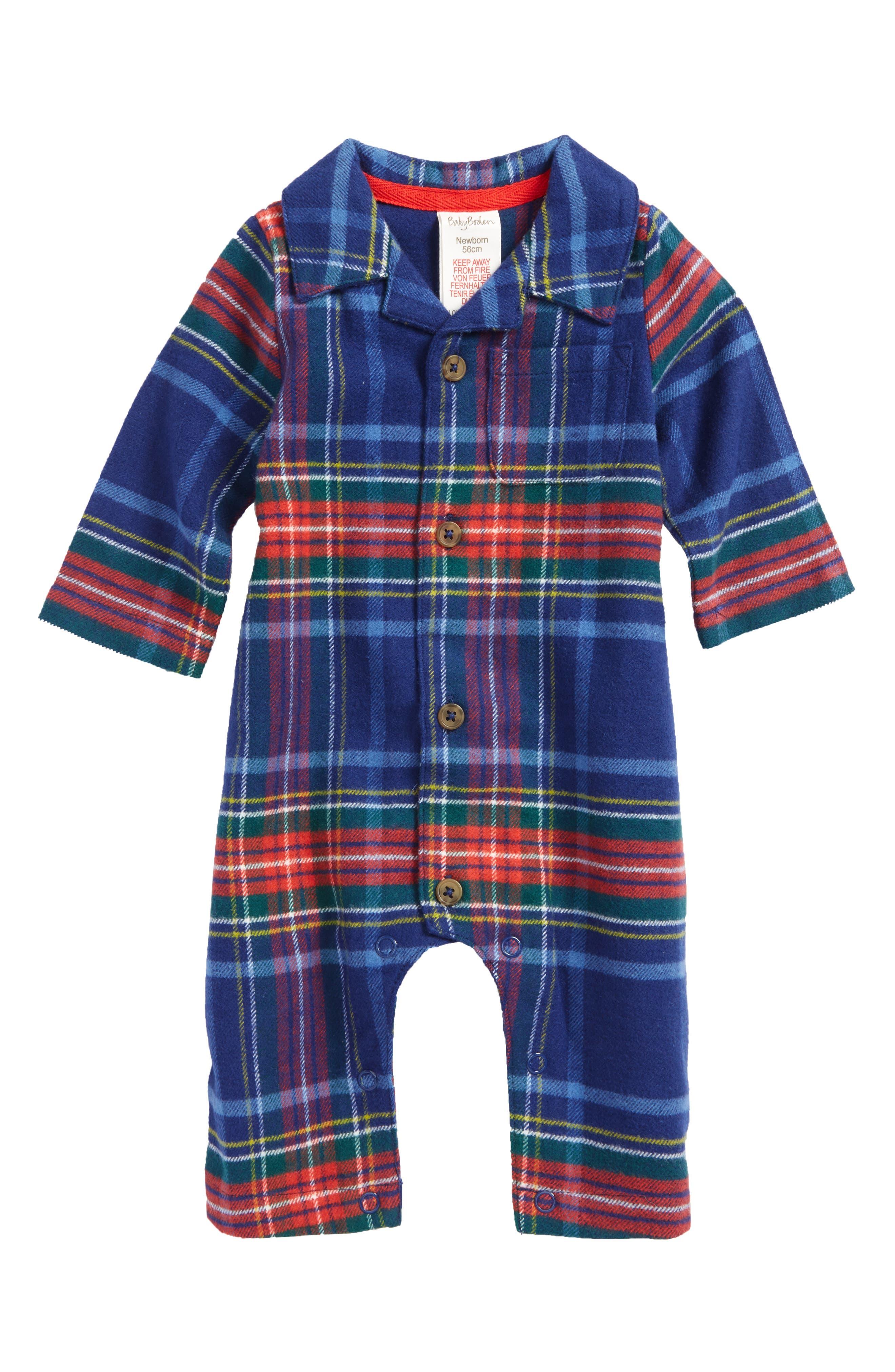 Mini Boden Festive Flannel Romper (Baby Boys)