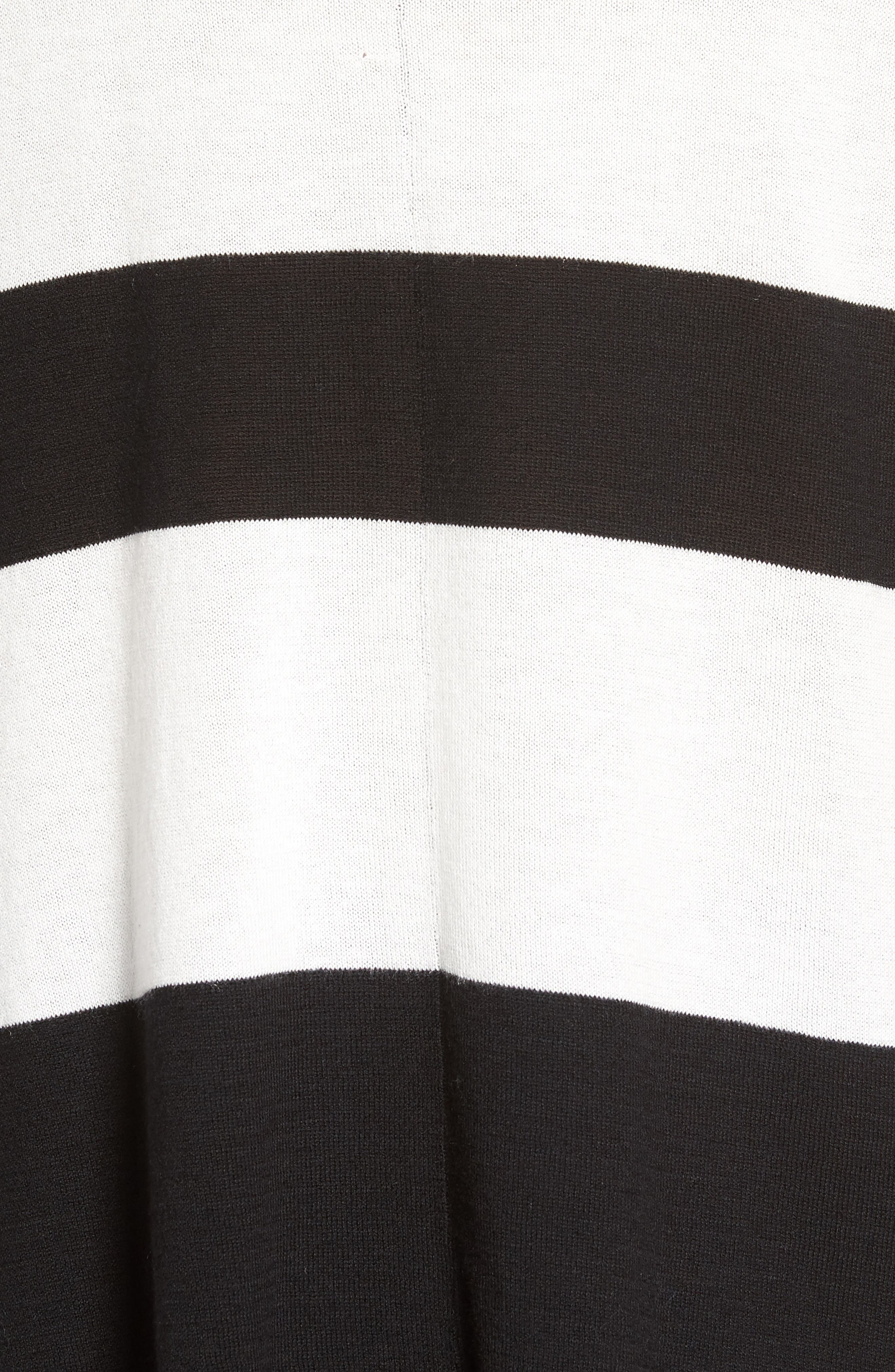 Wide Stripe Turtleneck Sweater,                             Alternate thumbnail 5, color,                             Black Cream