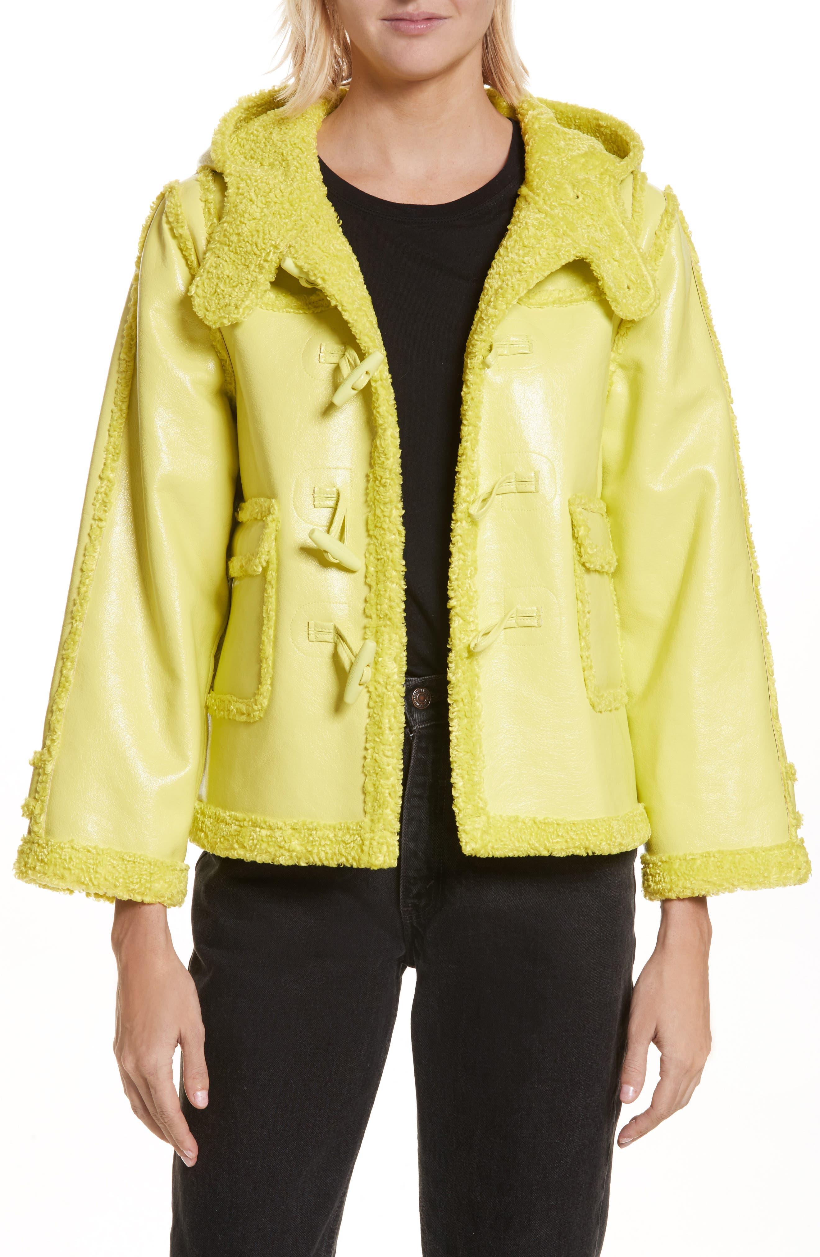 Faux Shearling Shrunken Toggle Jacket,                         Main,                         color, Acid Green