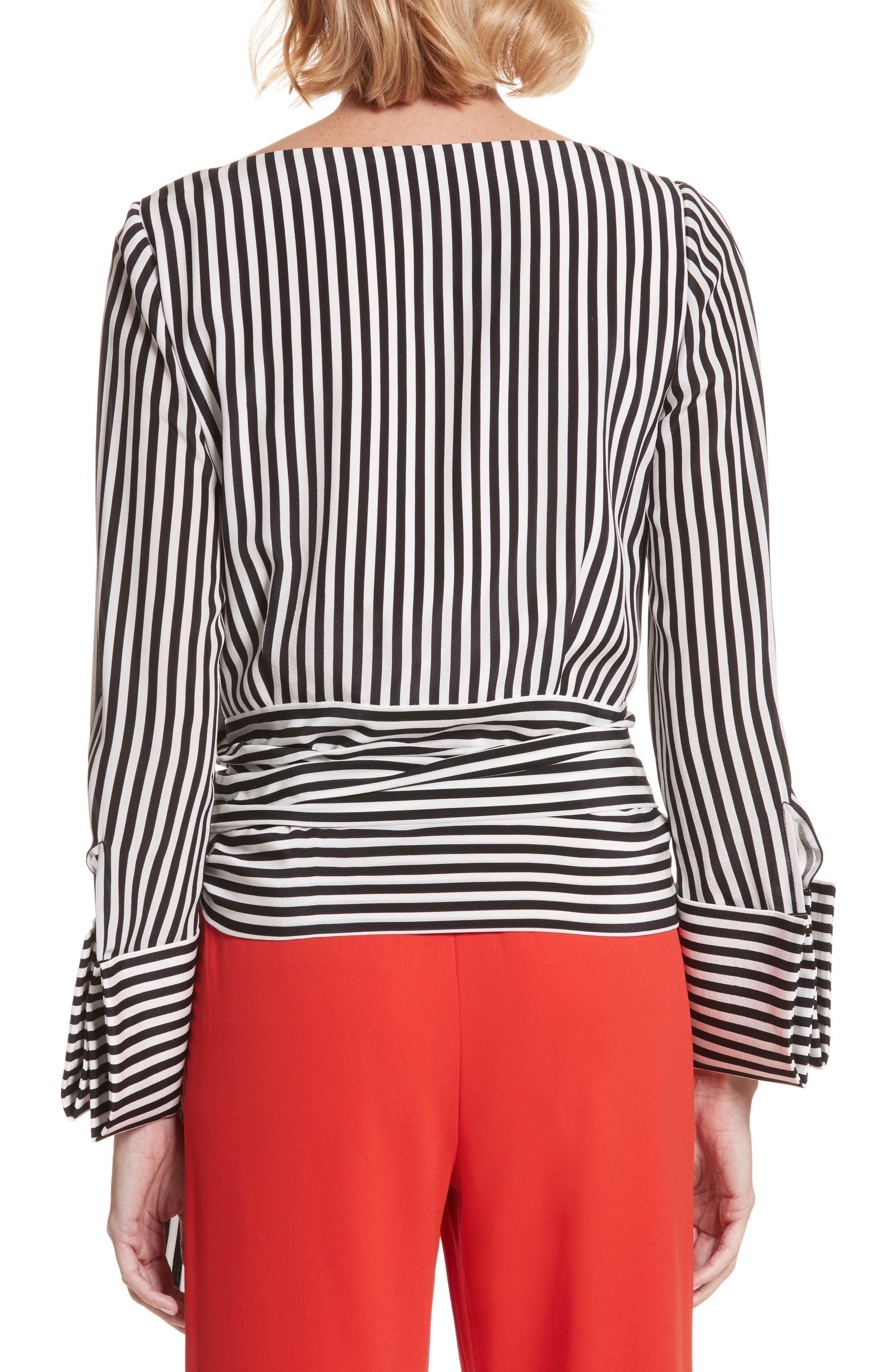 Alba Tie-Waist Silk Blouse,                             Alternate thumbnail 2, color,                             Mini Stripe-Soft Cream