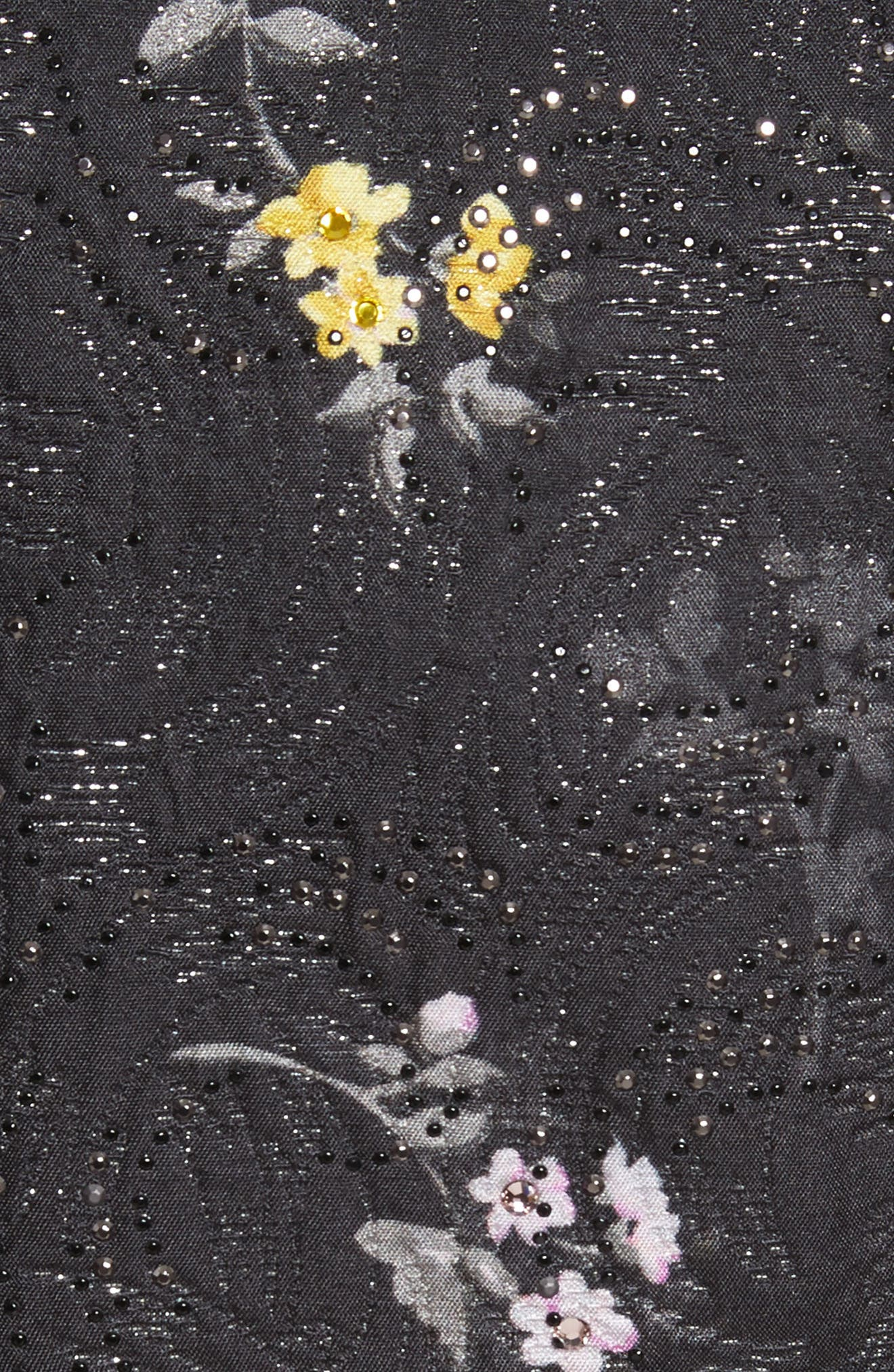Falling Bouquet Metallic Matelassé Coat,                             Alternate thumbnail 6, color,                             Caviar Multi