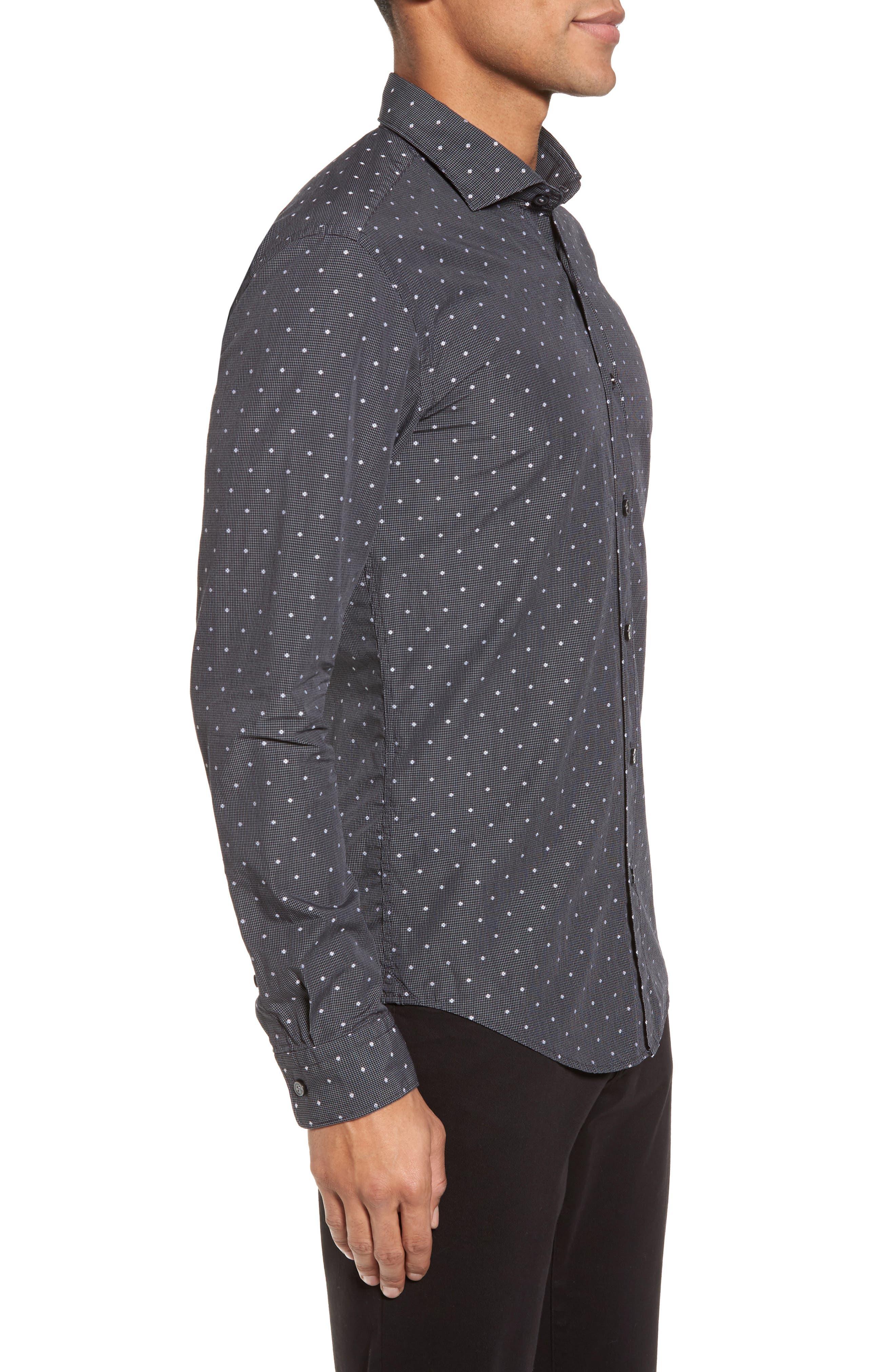 Ridley Slim Fit Dot Sport Shirt,                             Alternate thumbnail 3, color,                             Black
