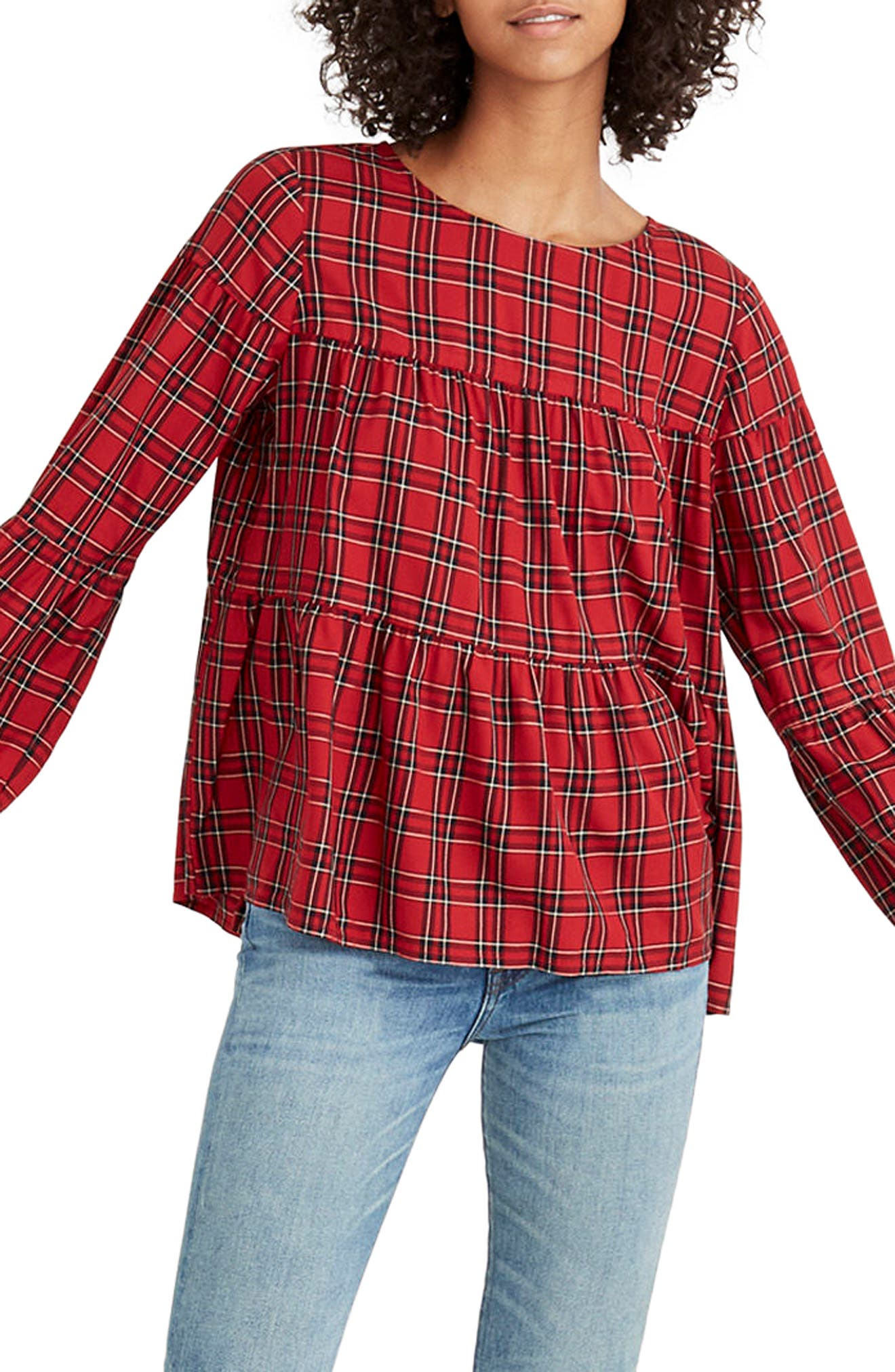 Plaid Tiered Button Back Top,                         Main,                         color, True Red