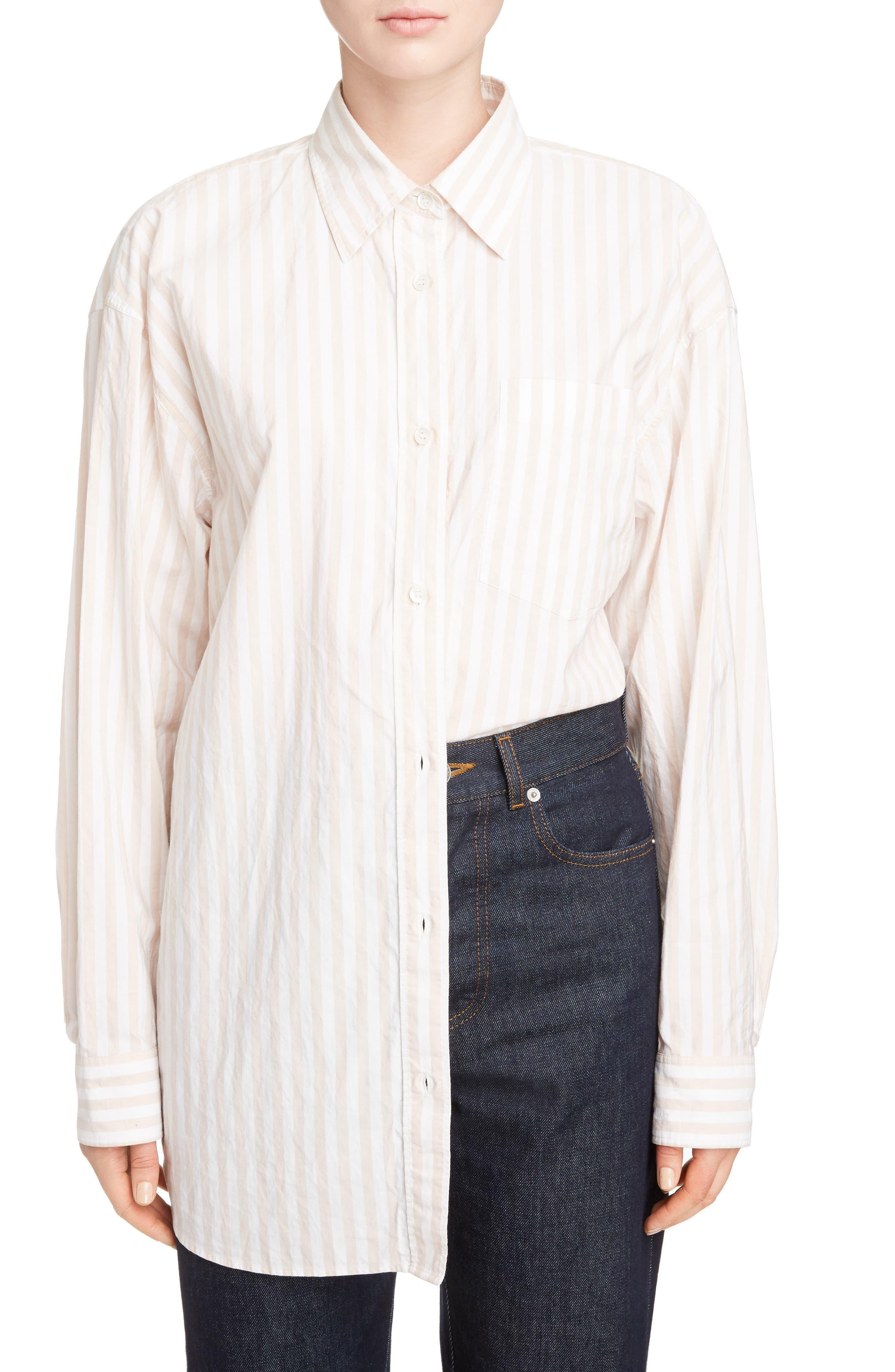 Stripe Cotton Oversize Shirt,                             Main thumbnail 1, color,                             Old Rose