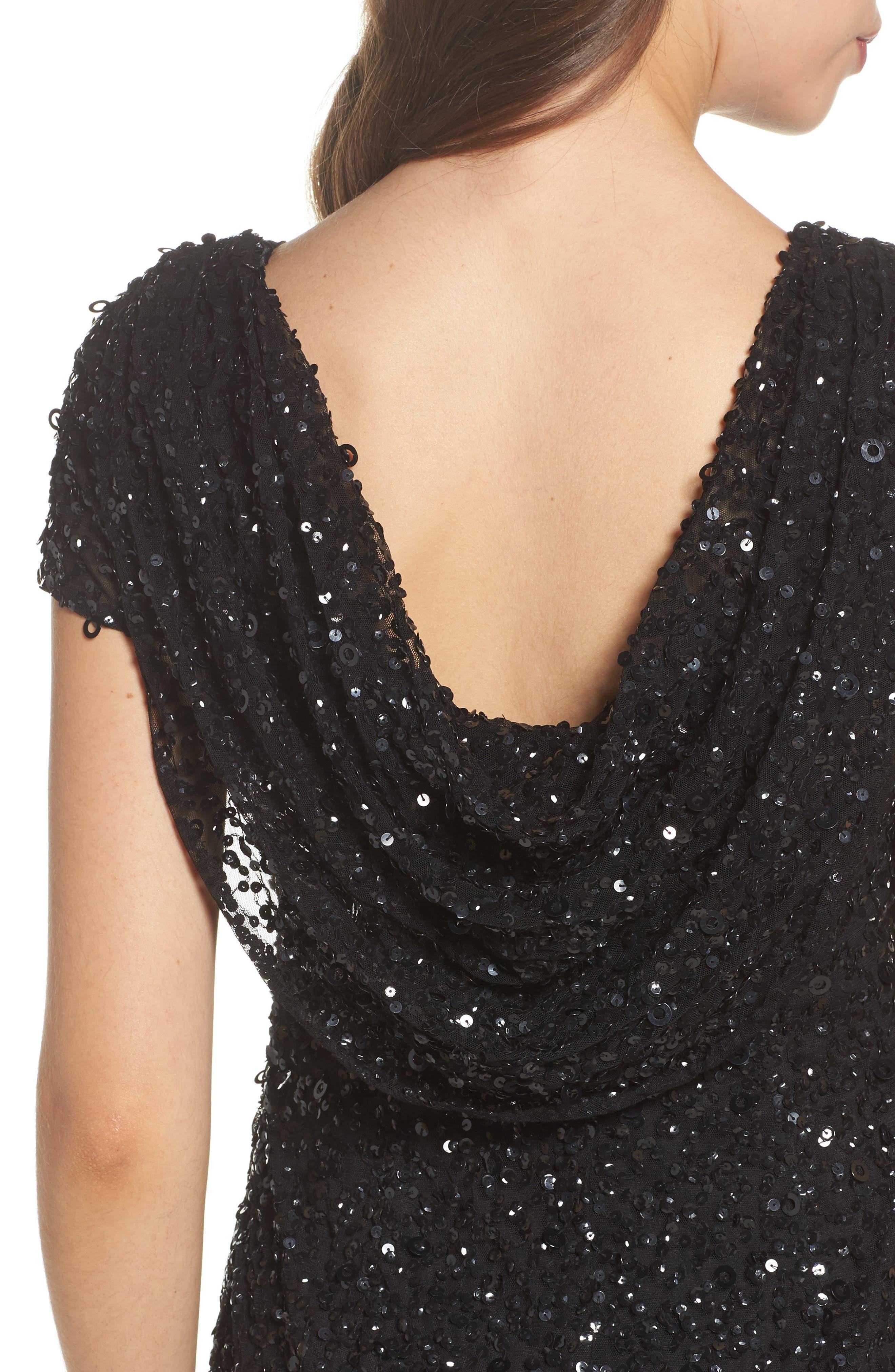 Sequin Cowl Back Dress,                             Alternate thumbnail 4, color,                             Black