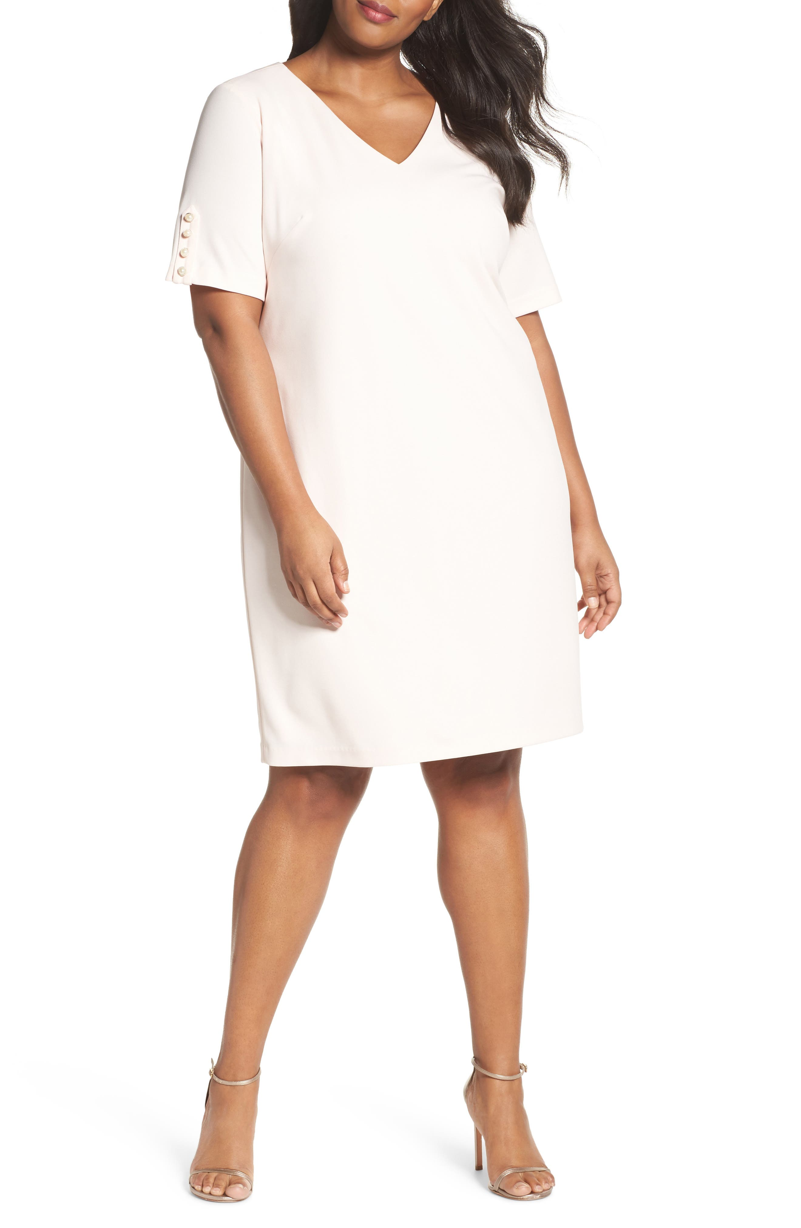 Main Image - Adrianna Papell Button Sleeve Shift Dress (Plus Size)
