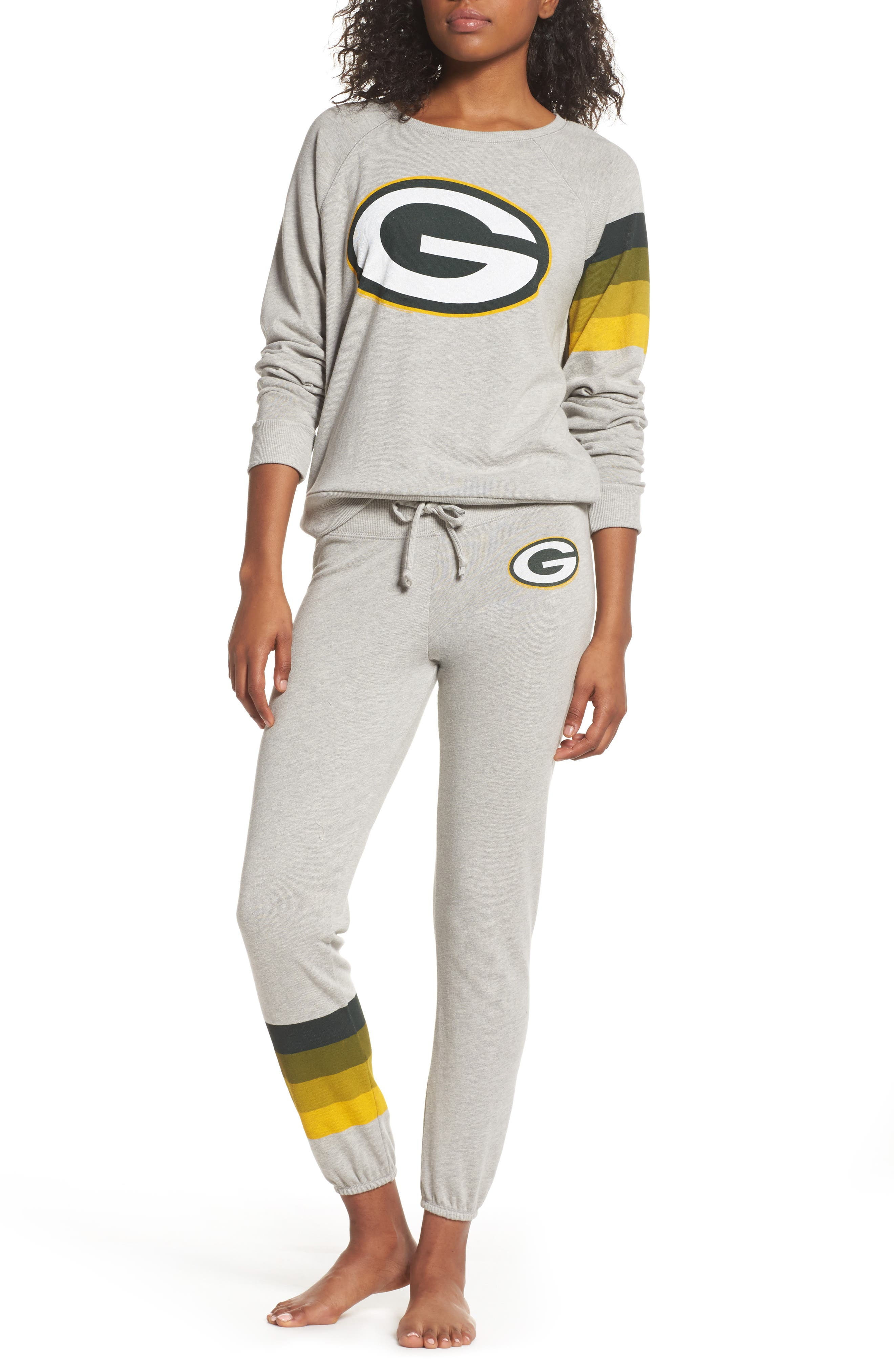 NF Green Bay Packers Hacci Sweatshirt,                             Alternate thumbnail 5, color,                             Dove Heather Grey
