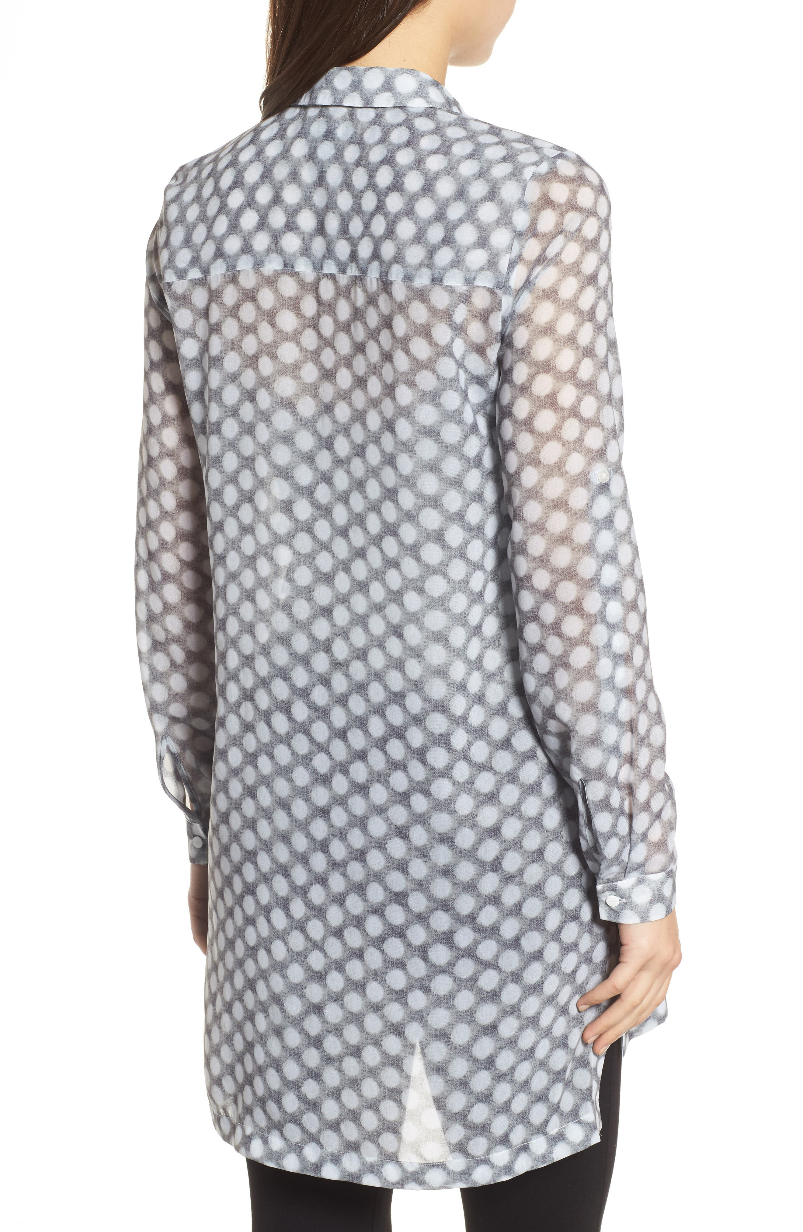 Button Tab Tunic Shirt,                             Alternate thumbnail 2, color,                             Frosty Dot