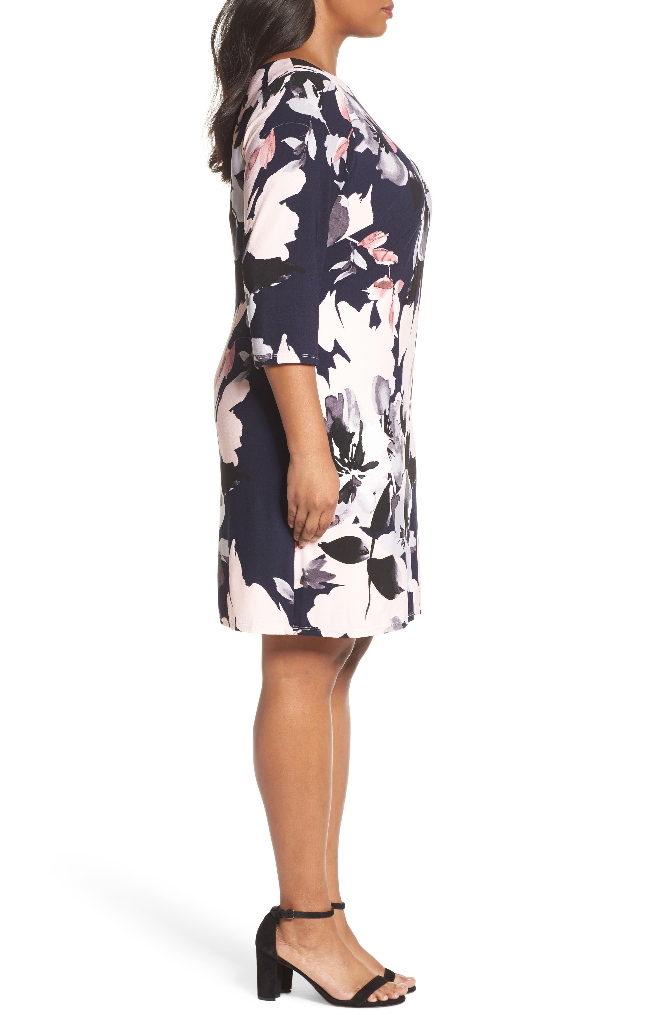 Floral Knit Sheath Dress,                             Alternate thumbnail 3, color,                             Navy Multi