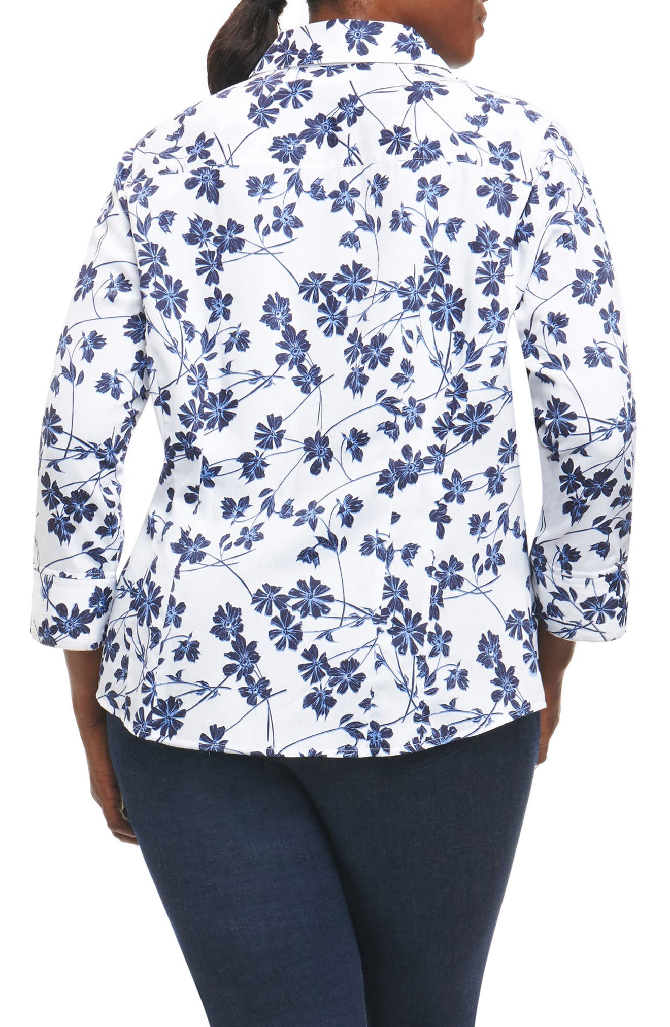 Taylor Floral Print Shirt,                             Alternate thumbnail 2, color,                             White/ Navy