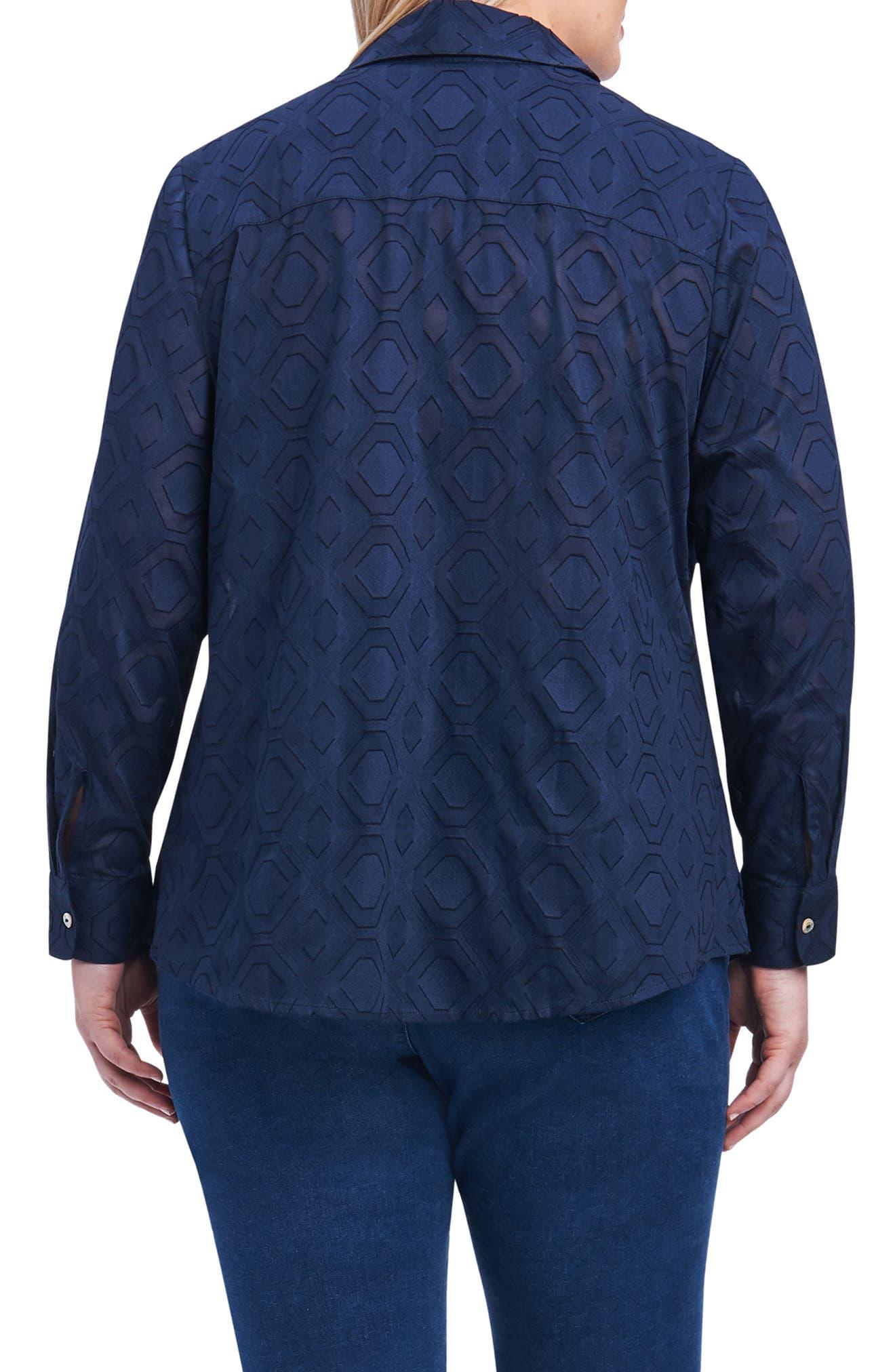 Alternate Image 2  - Foxcroft Ava Diamond Clip Jacquard Shirt (Plus Size)