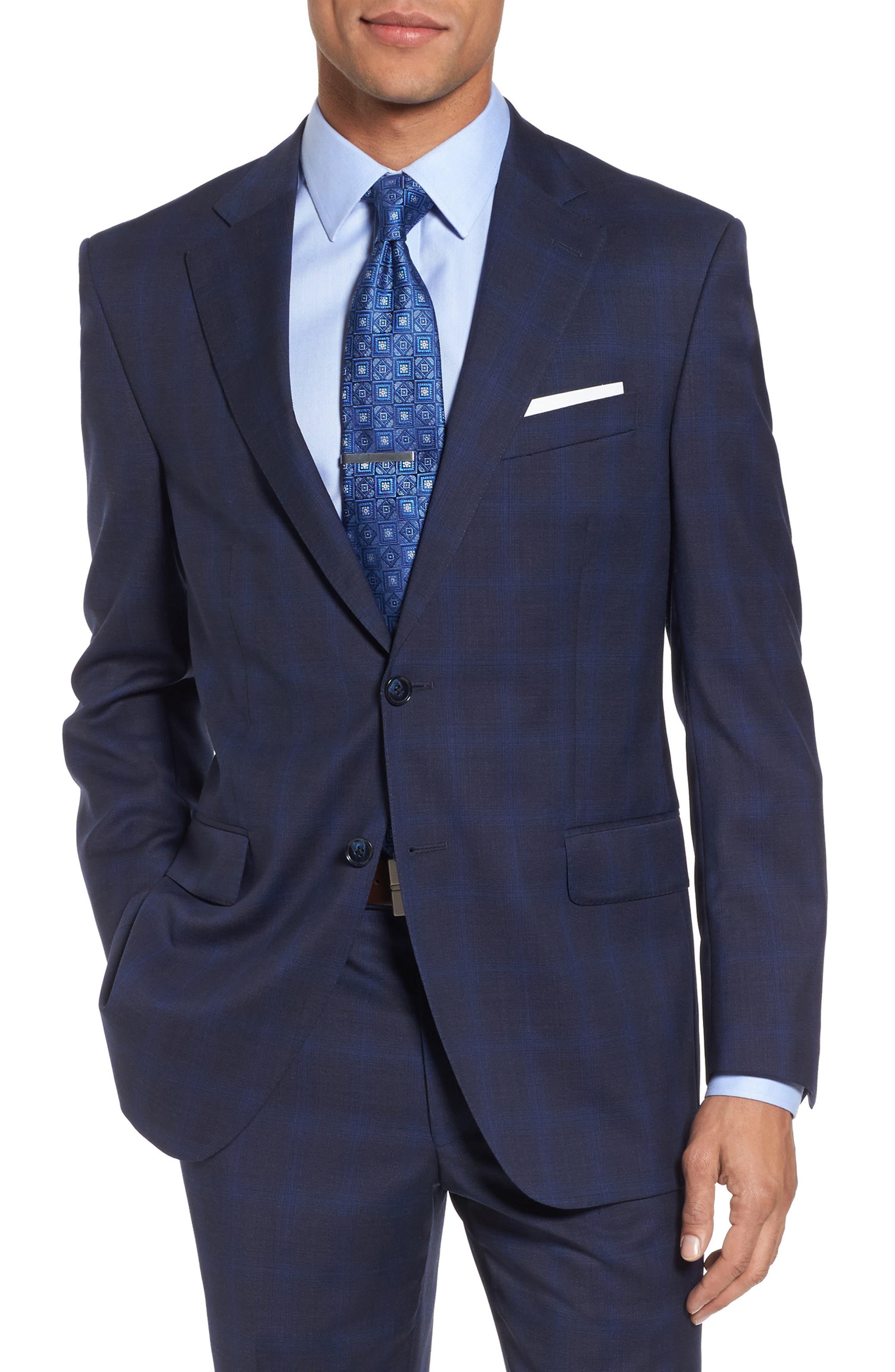 Classic Fit Plaid Wool Suit,                             Alternate thumbnail 5, color,                             Navy