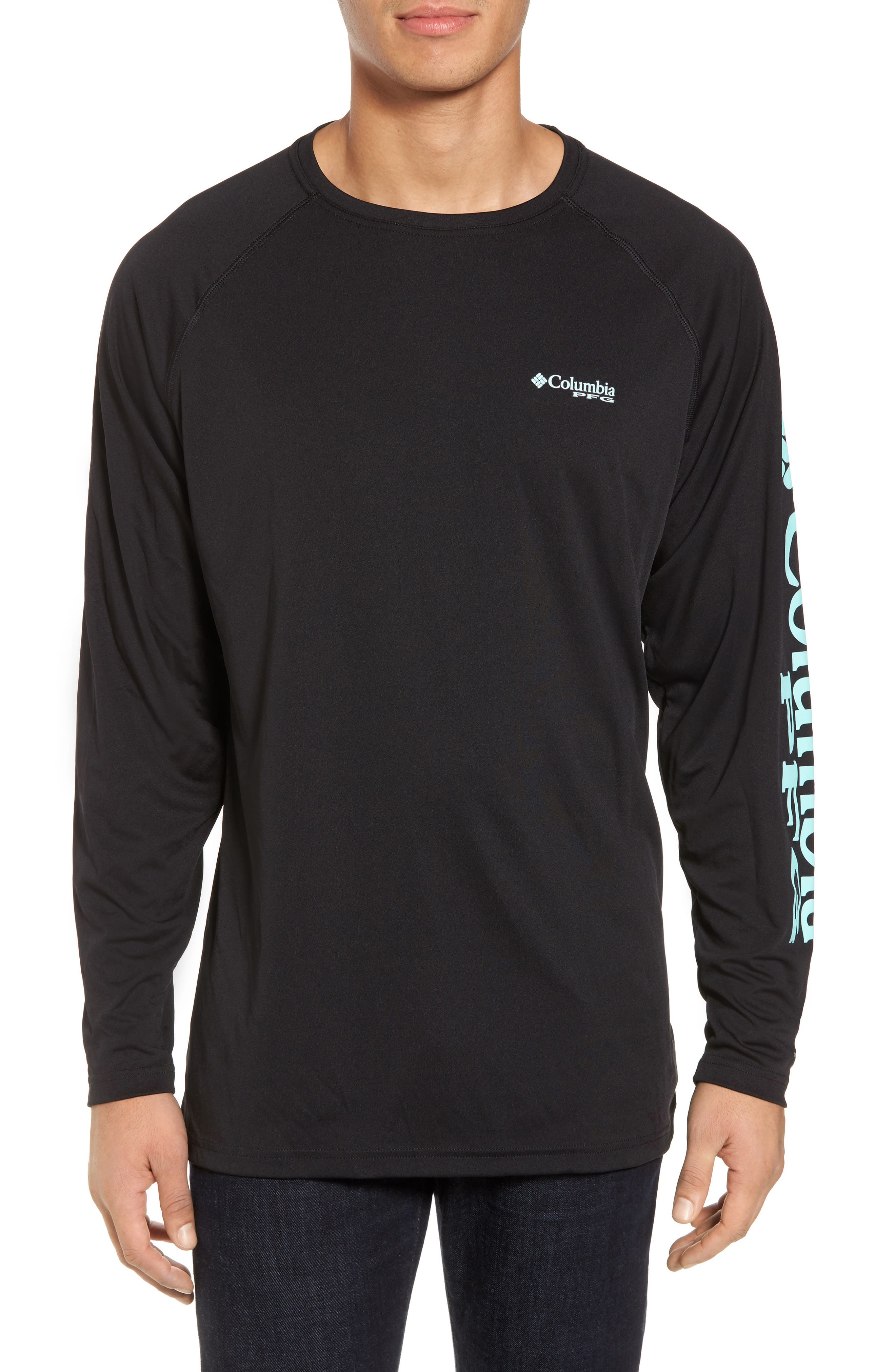 PFG Terminal Tackle Performance T-Shirt,                         Main,                         color, Black/ Gulf Stream