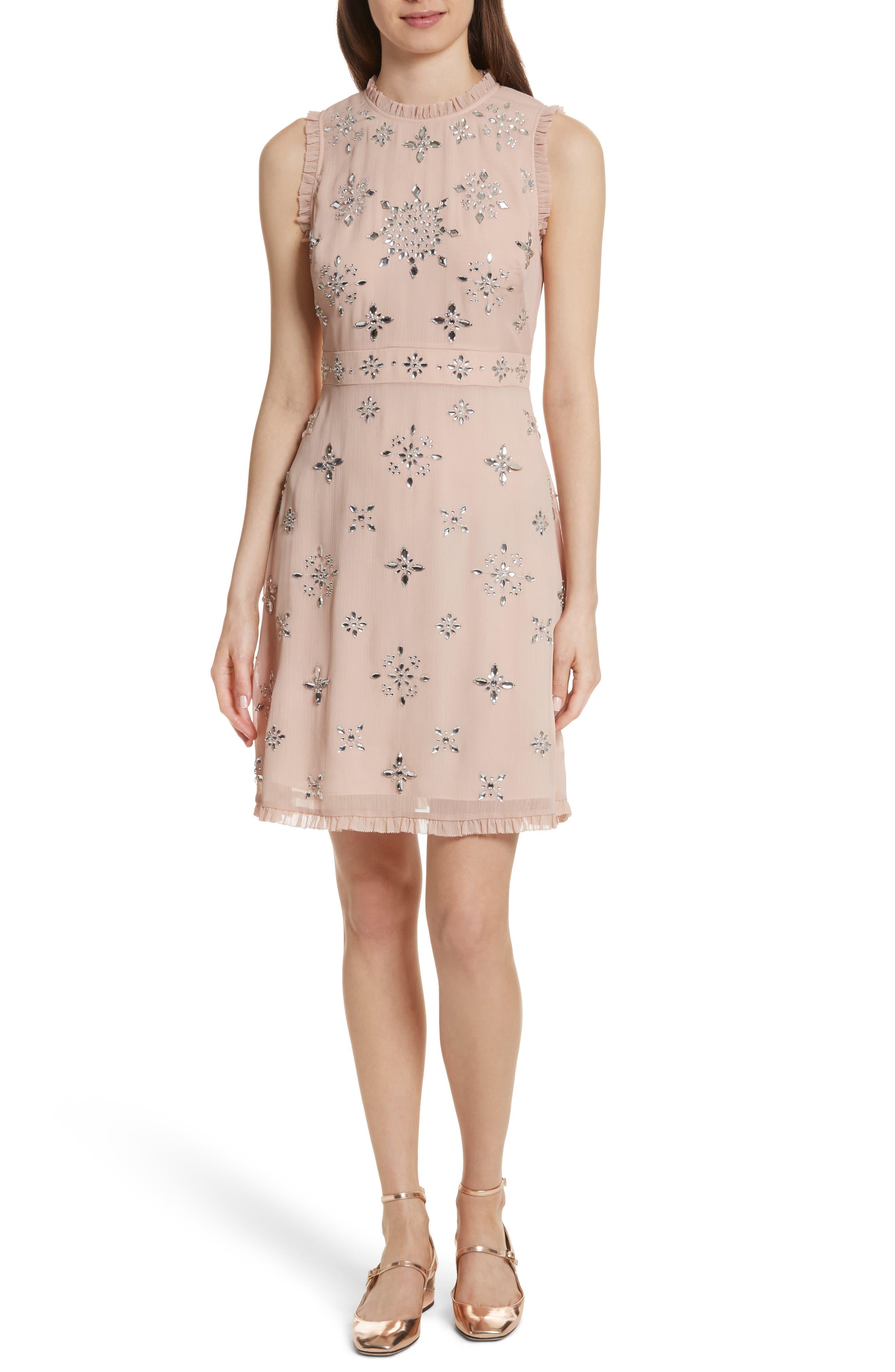 solani embellished chiffon dress,                         Main,                         color, Amaretto