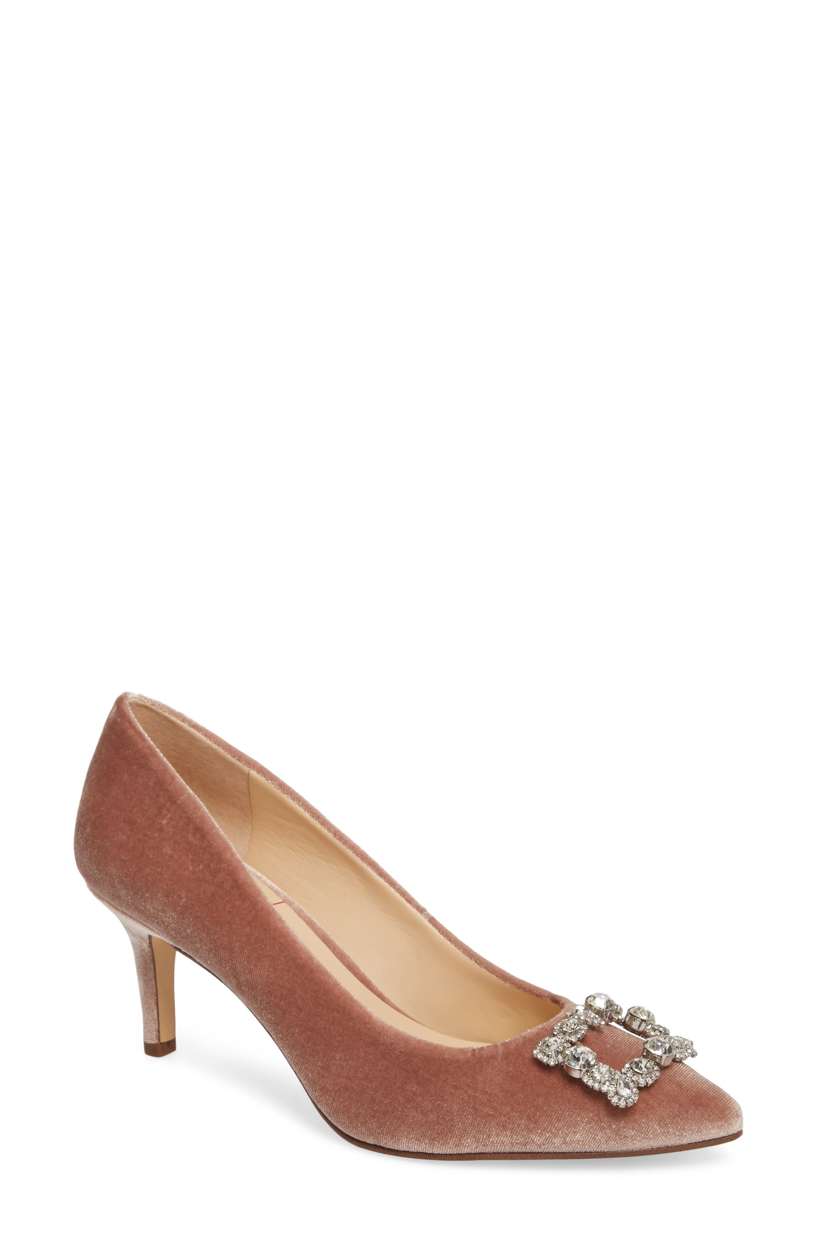 Edilina Crystal Buckle Velvet Pump,                             Main thumbnail 1, color,                             Mahogany Rose