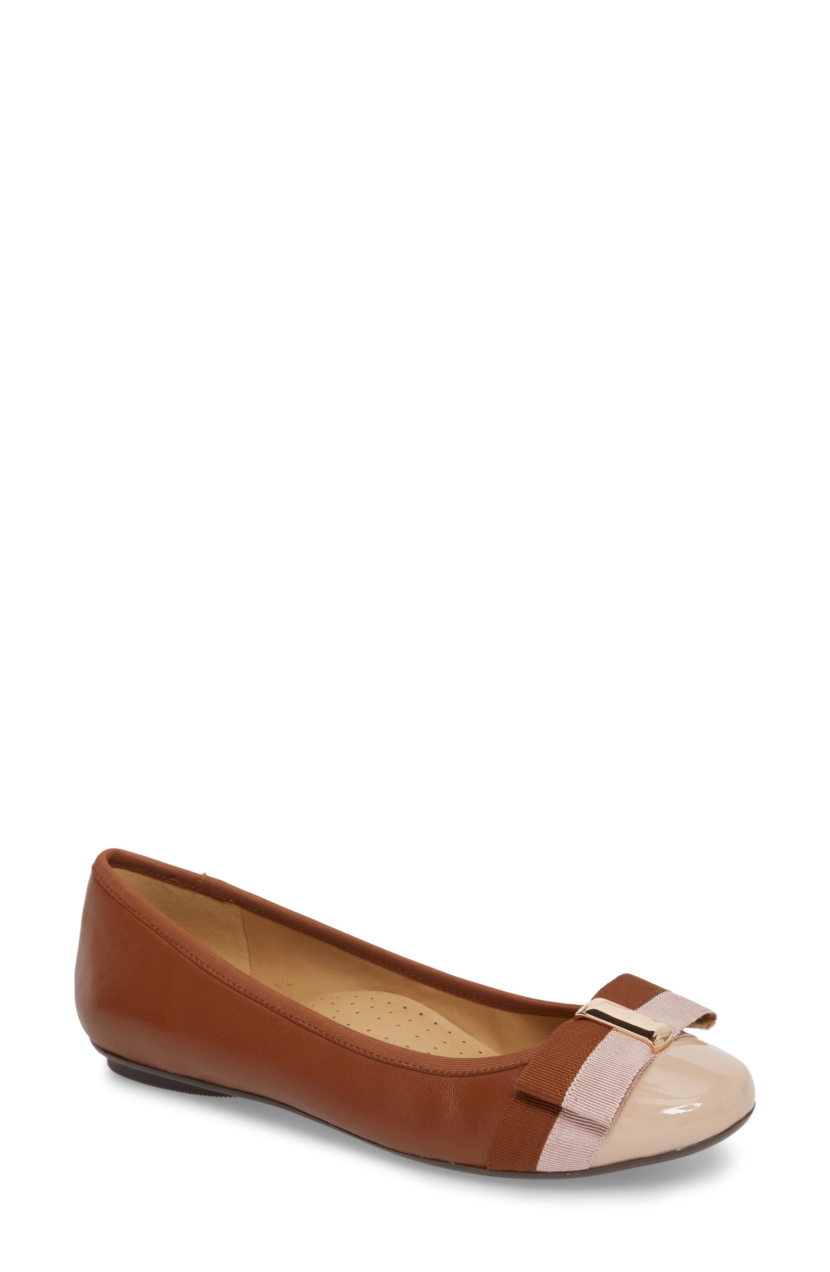 Salia Bow Flat,                         Main,                         color, Cognac Leather