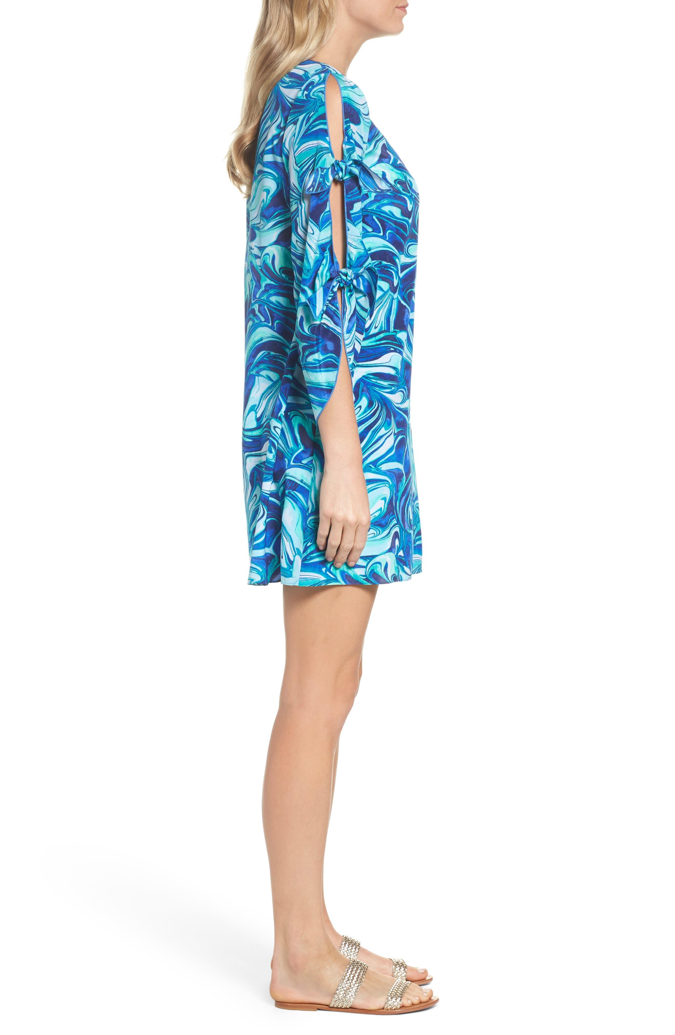Avila Shift Dress,                             Alternate thumbnail 3, color,                             Ikat Blue Ocean Waves