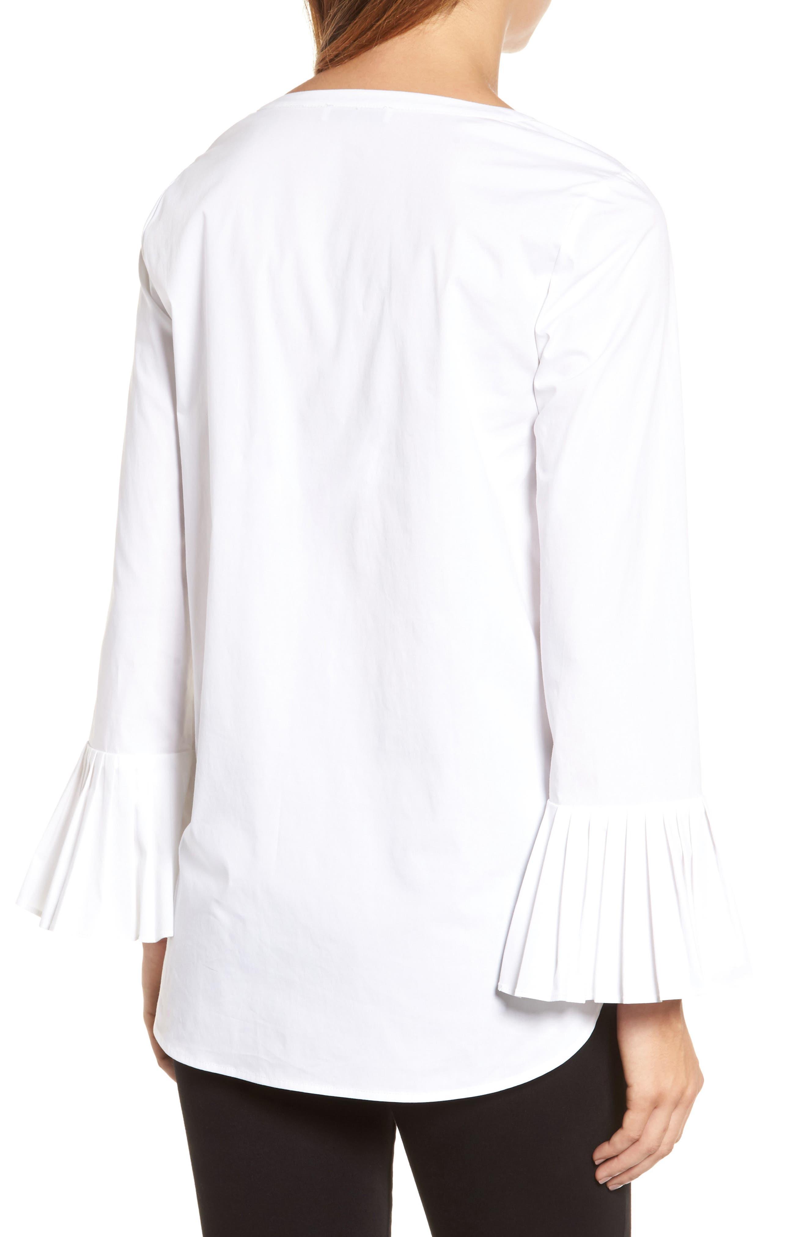 Alternate Image 2  - Chaus Pleat Sleeve Shirttail Blouse