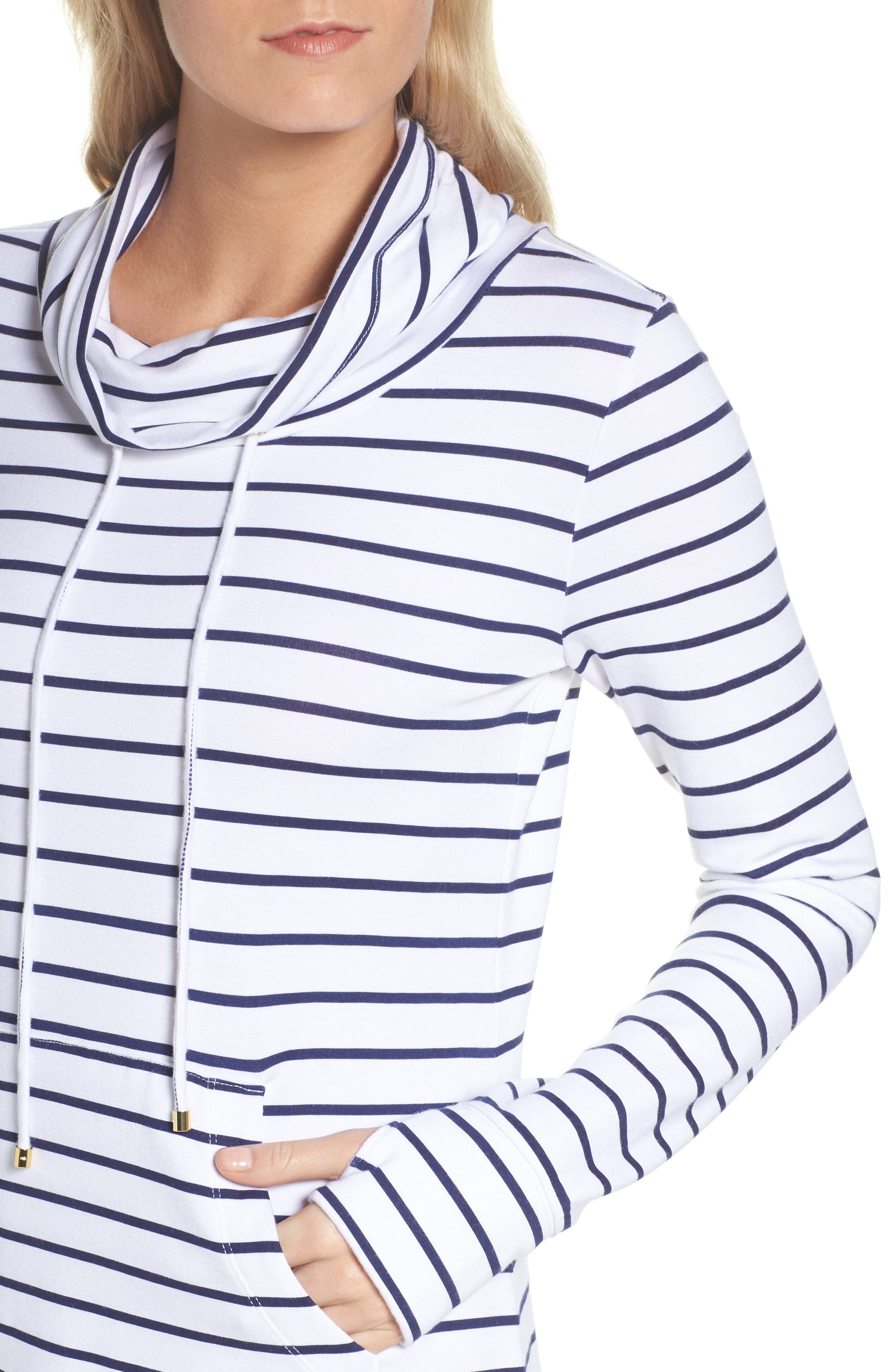 Hilary UPF 50+ Dress,                             Alternate thumbnail 4, color,                             Bright Navy Mystic Stripe