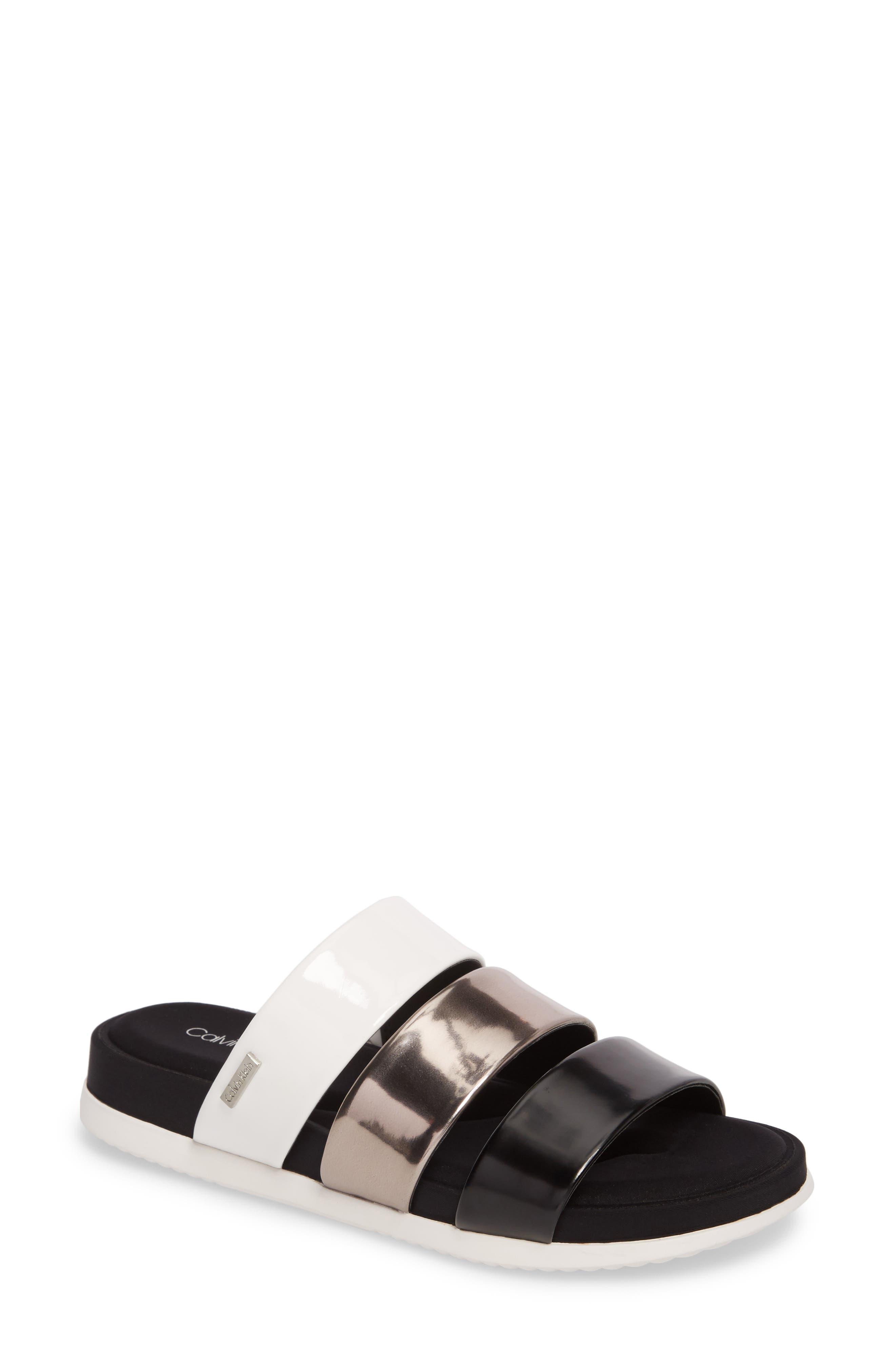 Dalana Slide Sandal,                             Main thumbnail 1, color,                             Black/ Pewter Faux Leather