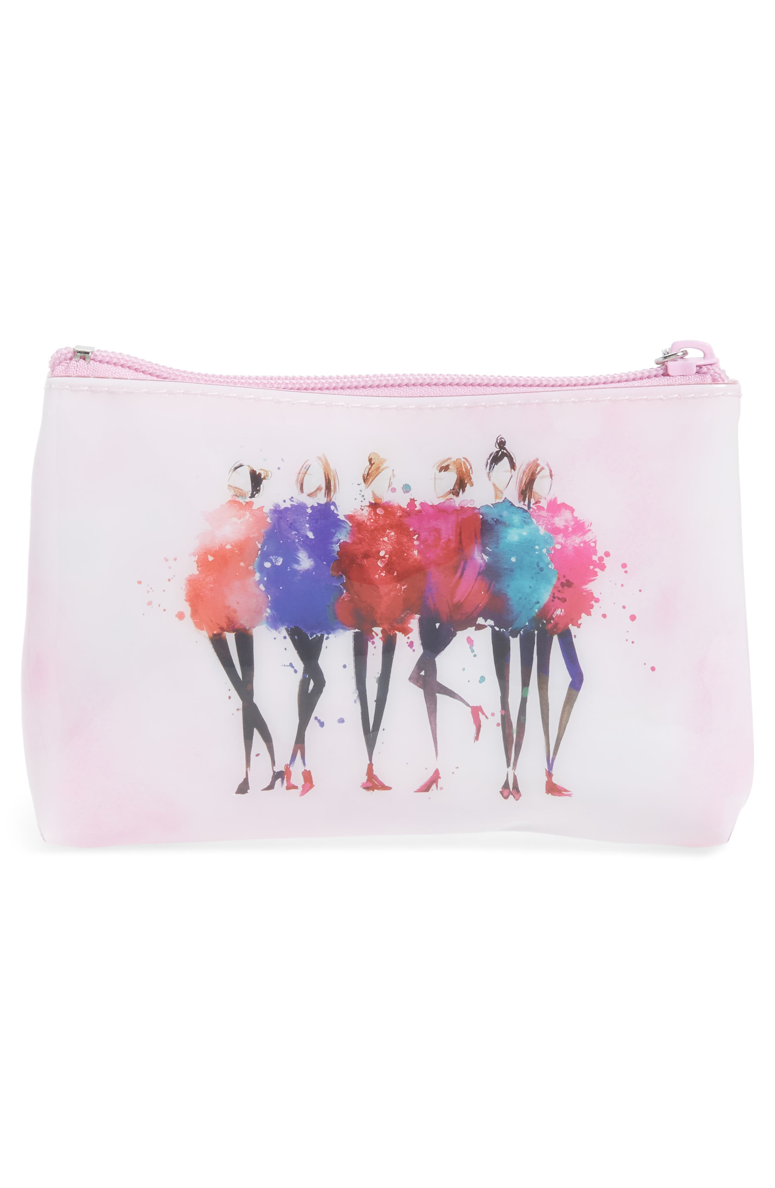 Watercolor Women Cosmetics Pouch,                             Alternate thumbnail 2, color,                             Pink