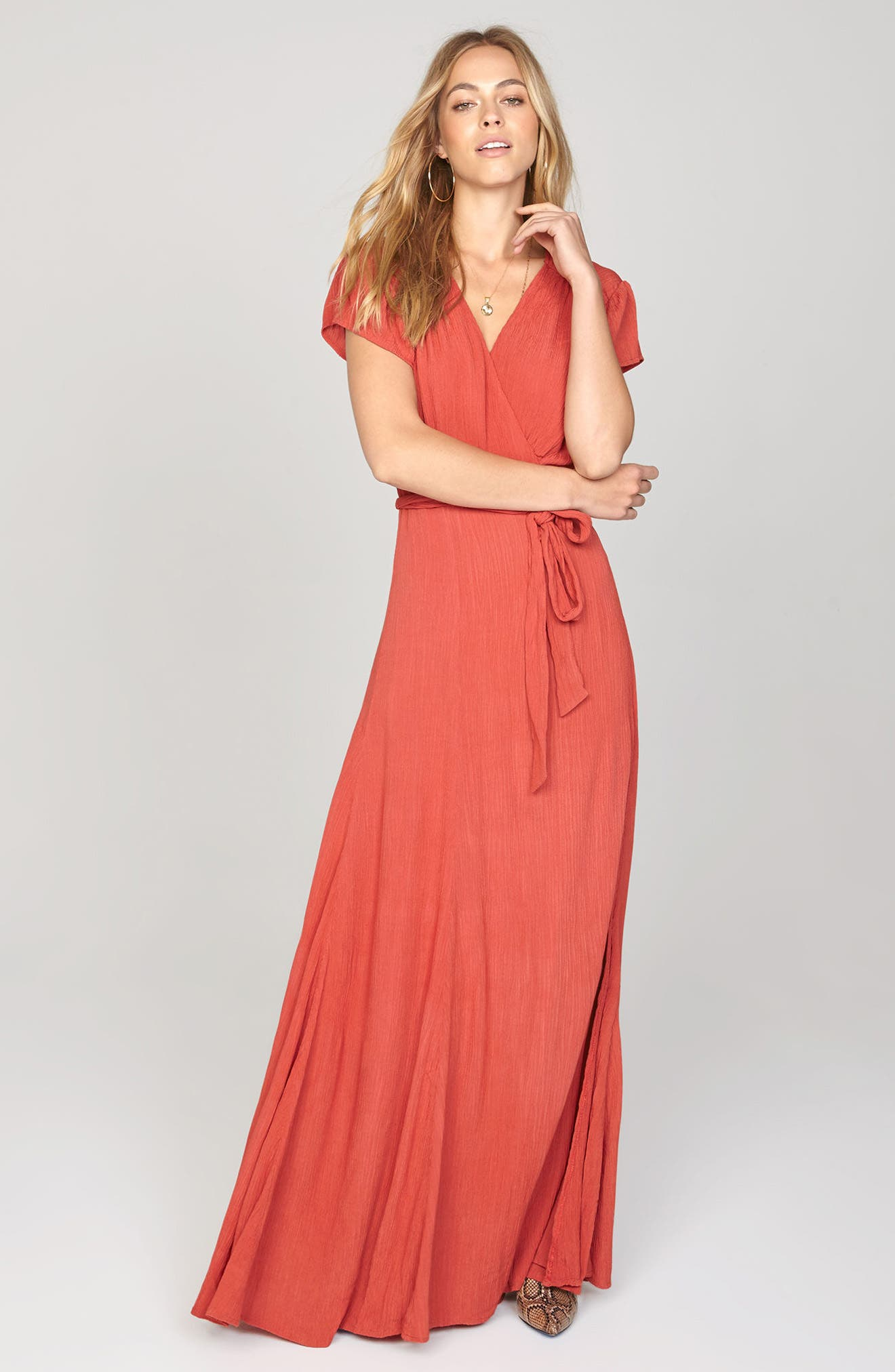 Beachscape Maxi Wrap Dress,                             Alternate thumbnail 2, color,                             Salsa Red