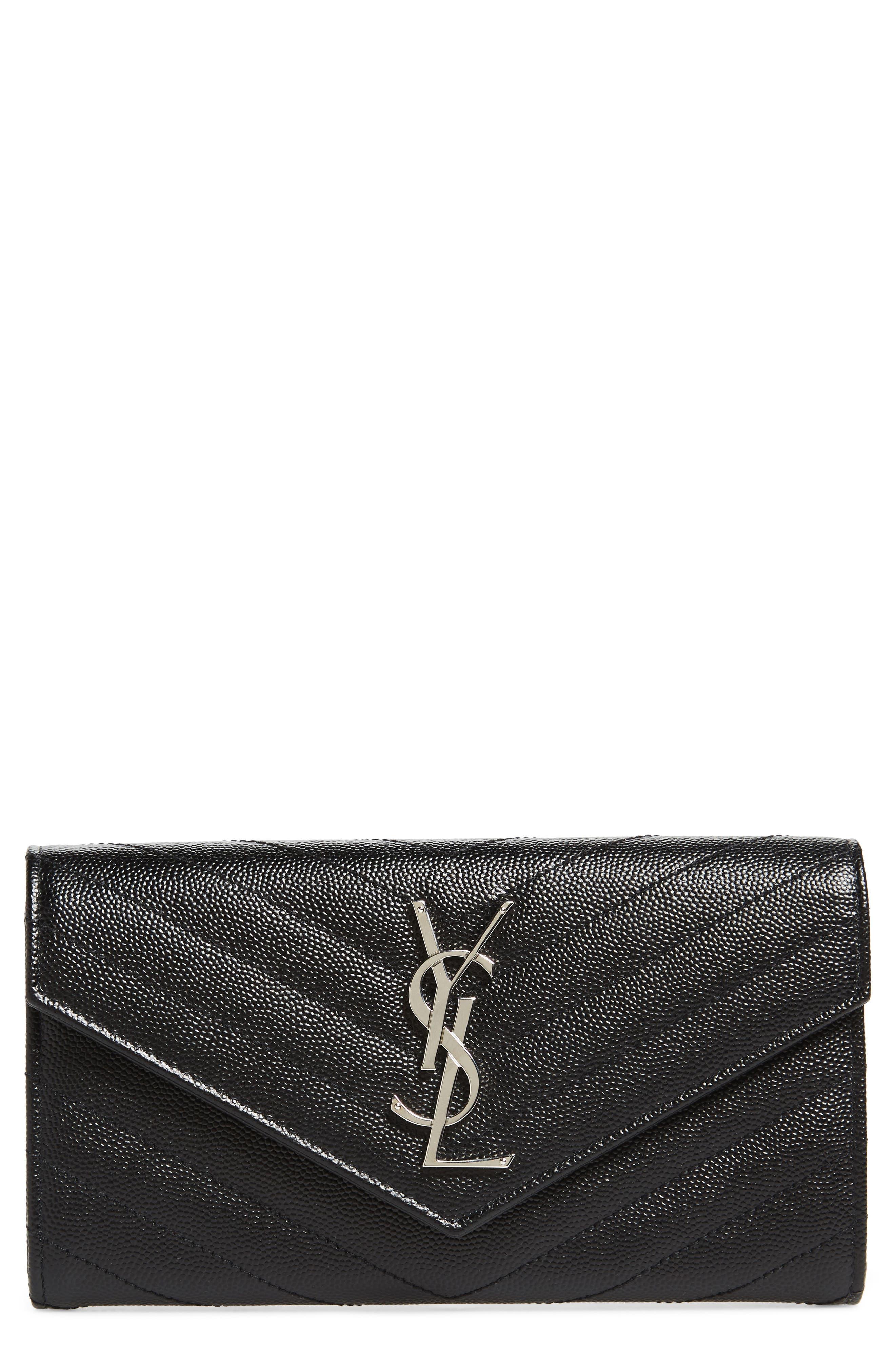 Saint Laurent M atelassé Leather Envelope Wallet
