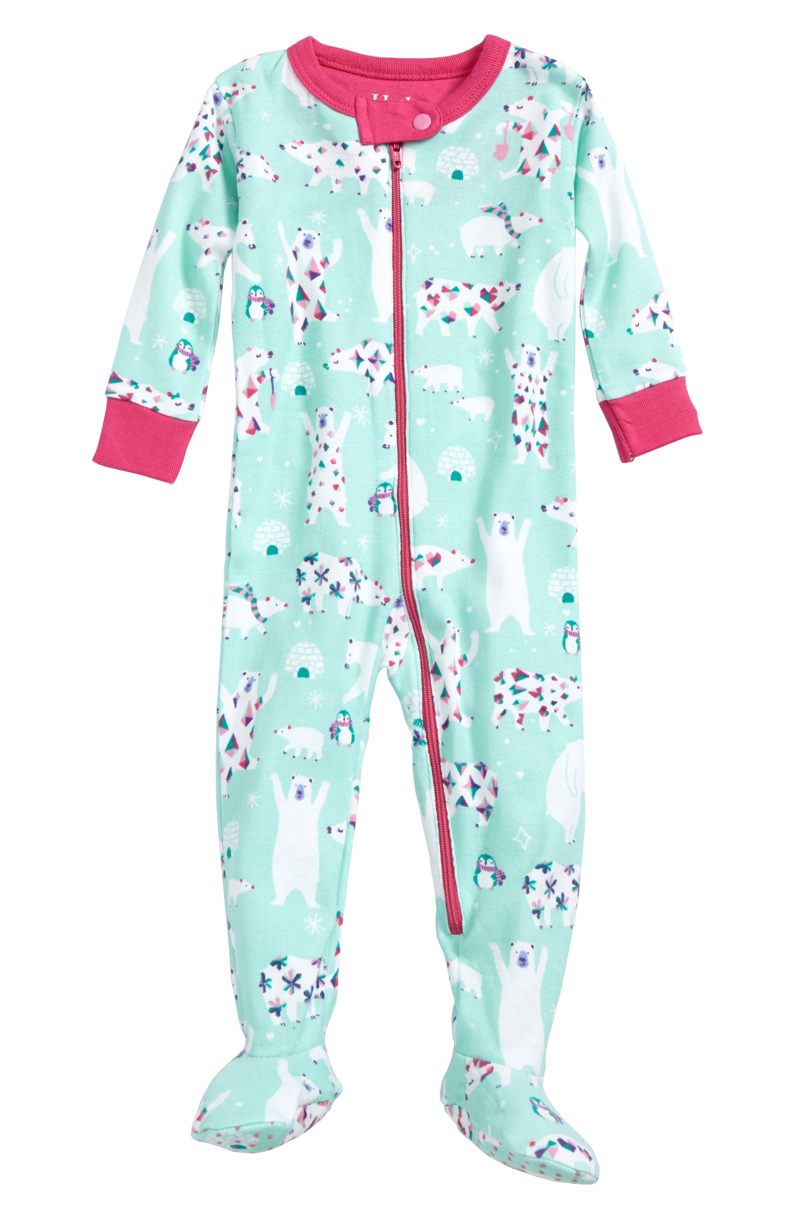 Hatley Snow Party Organic Cotton Fitted One-Piece Pajamas (Baby Girls)
