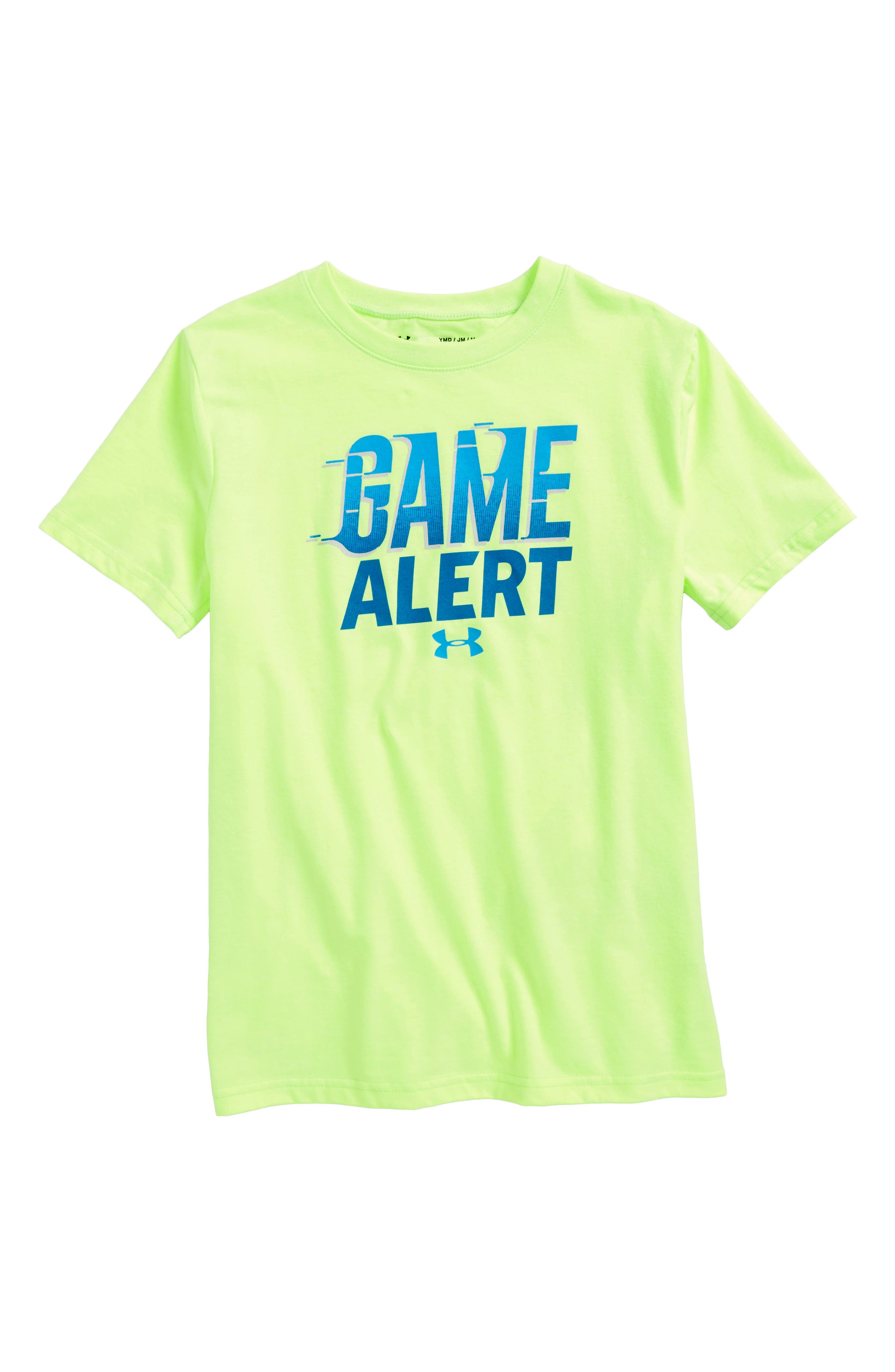 Game Alert Graphic T-Shirt,                             Main thumbnail 1, color,                             Quirky Lime Light Heather