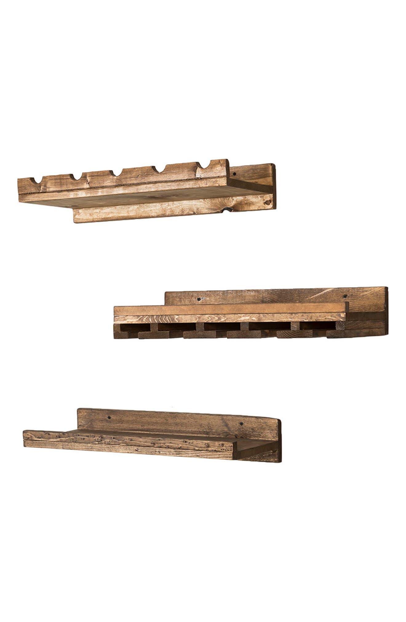 Set of 3 Pine Wood Wine Racks,                             Alternate thumbnail 6, color,                             Dark Walnut