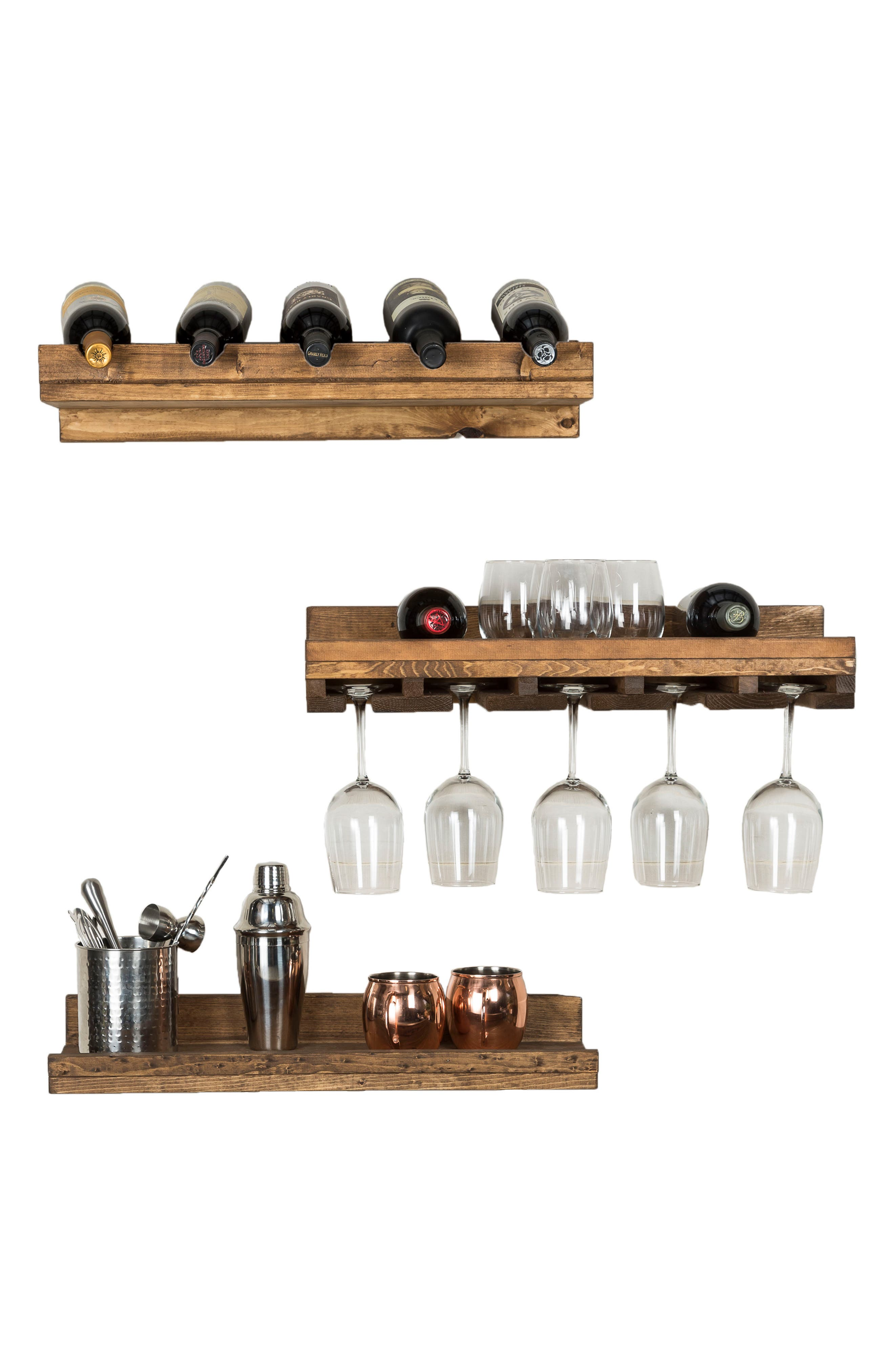 Set of 3 Pine Wood Wine Racks,                             Alternate thumbnail 11, color,                             Dark Walnut