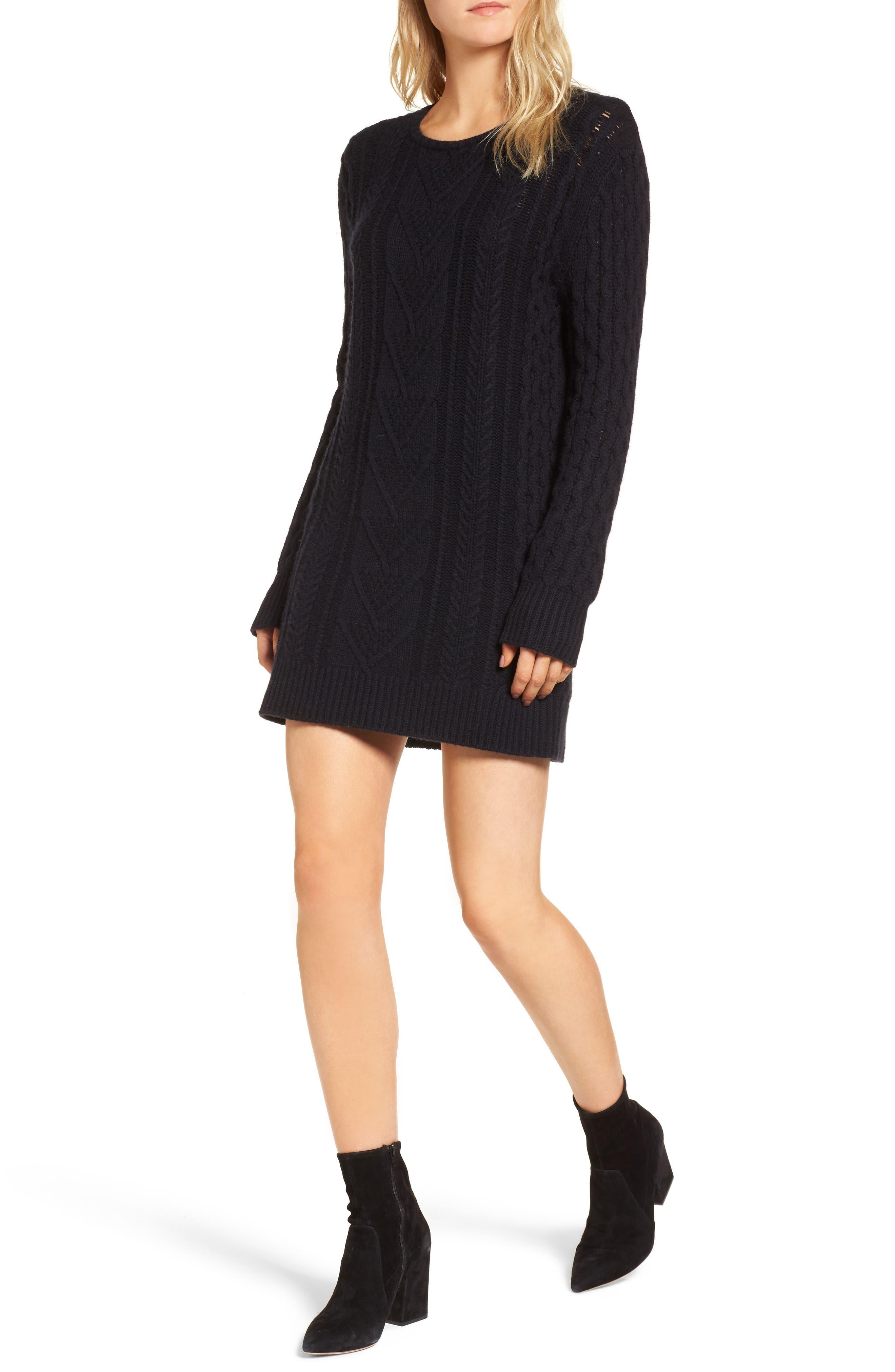 Jesse Sweater Minidress,                             Main thumbnail 1, color,                             Midnight