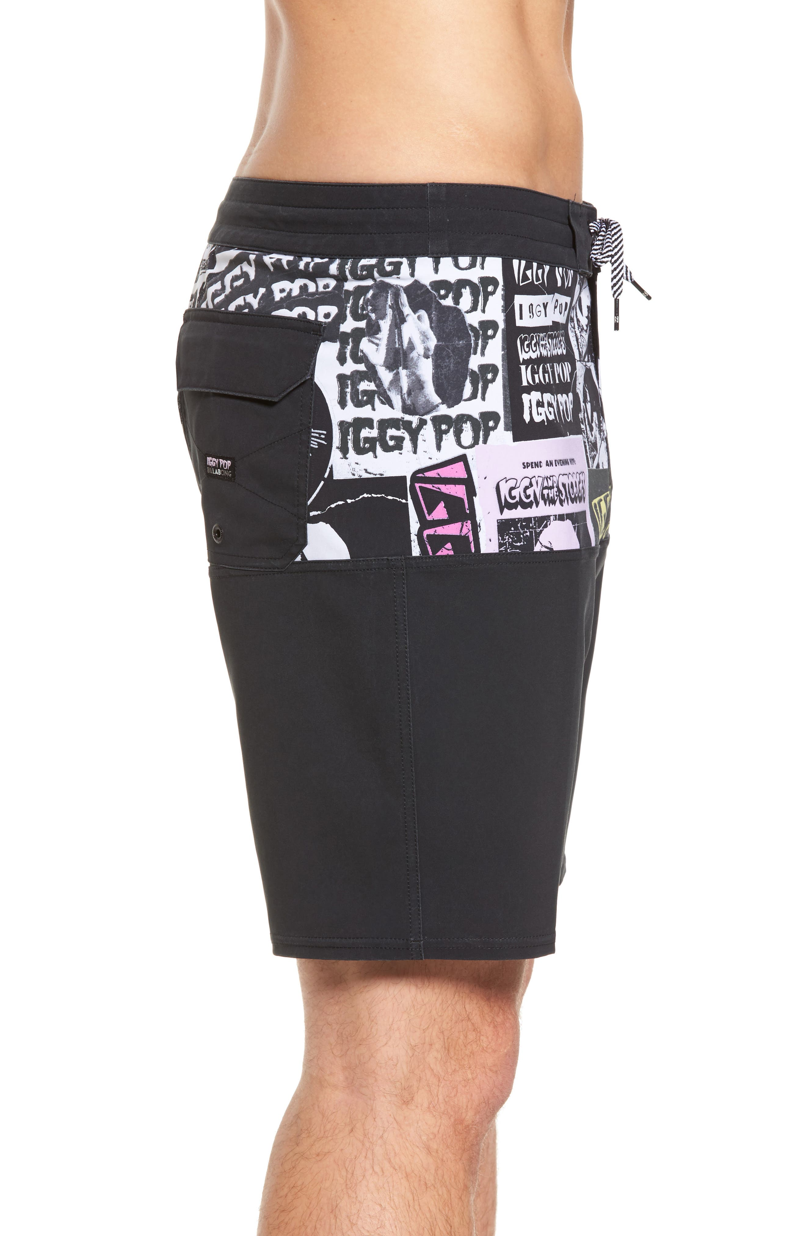 x Iggy Pop Fifty50 Poster Board Shorts,                             Alternate thumbnail 3, color,                             Multi Black