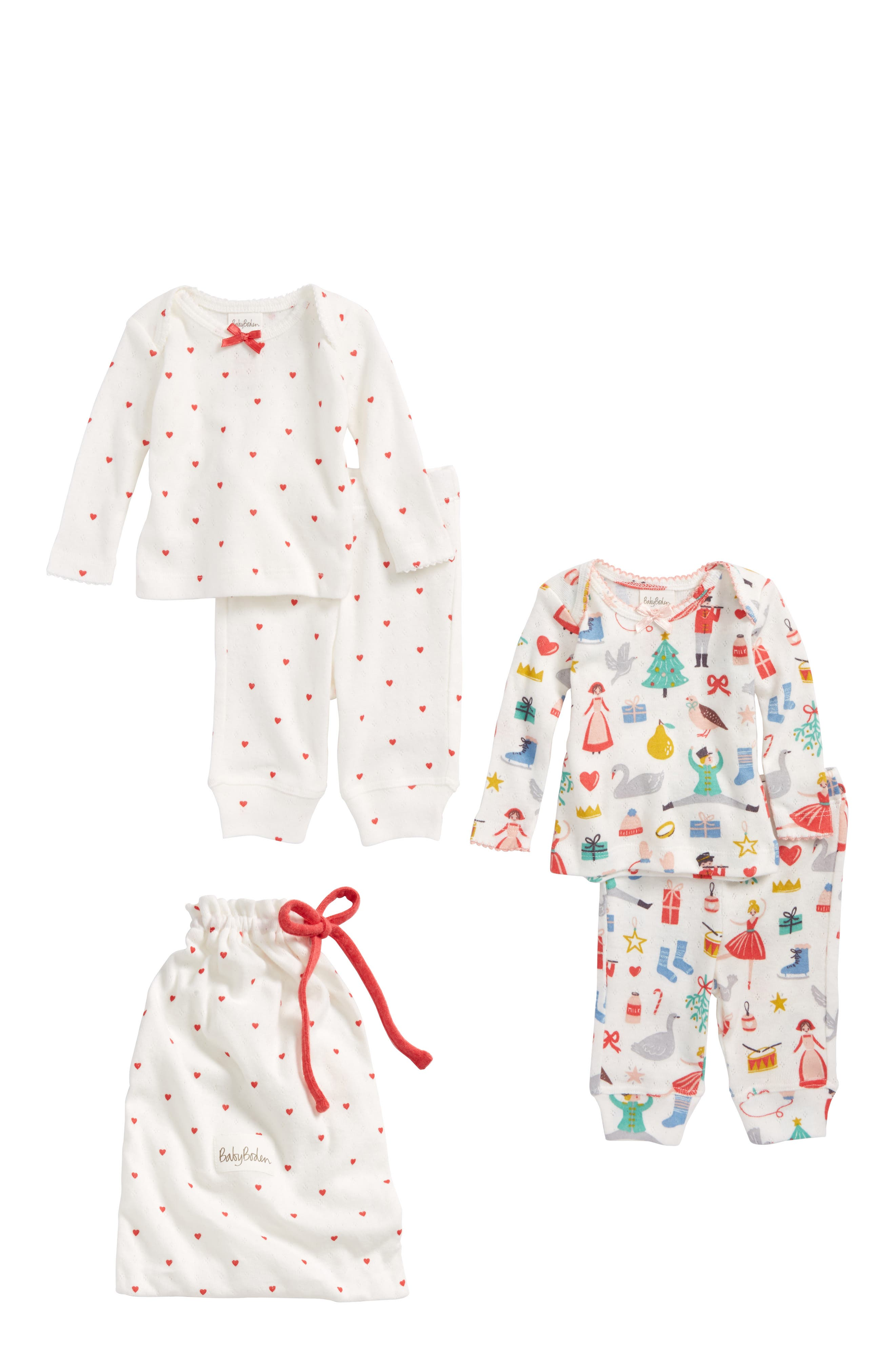 Mini Boden Pointelle 2-Pack Top & Pants Sets (Baby Girls & Toddler Girls)