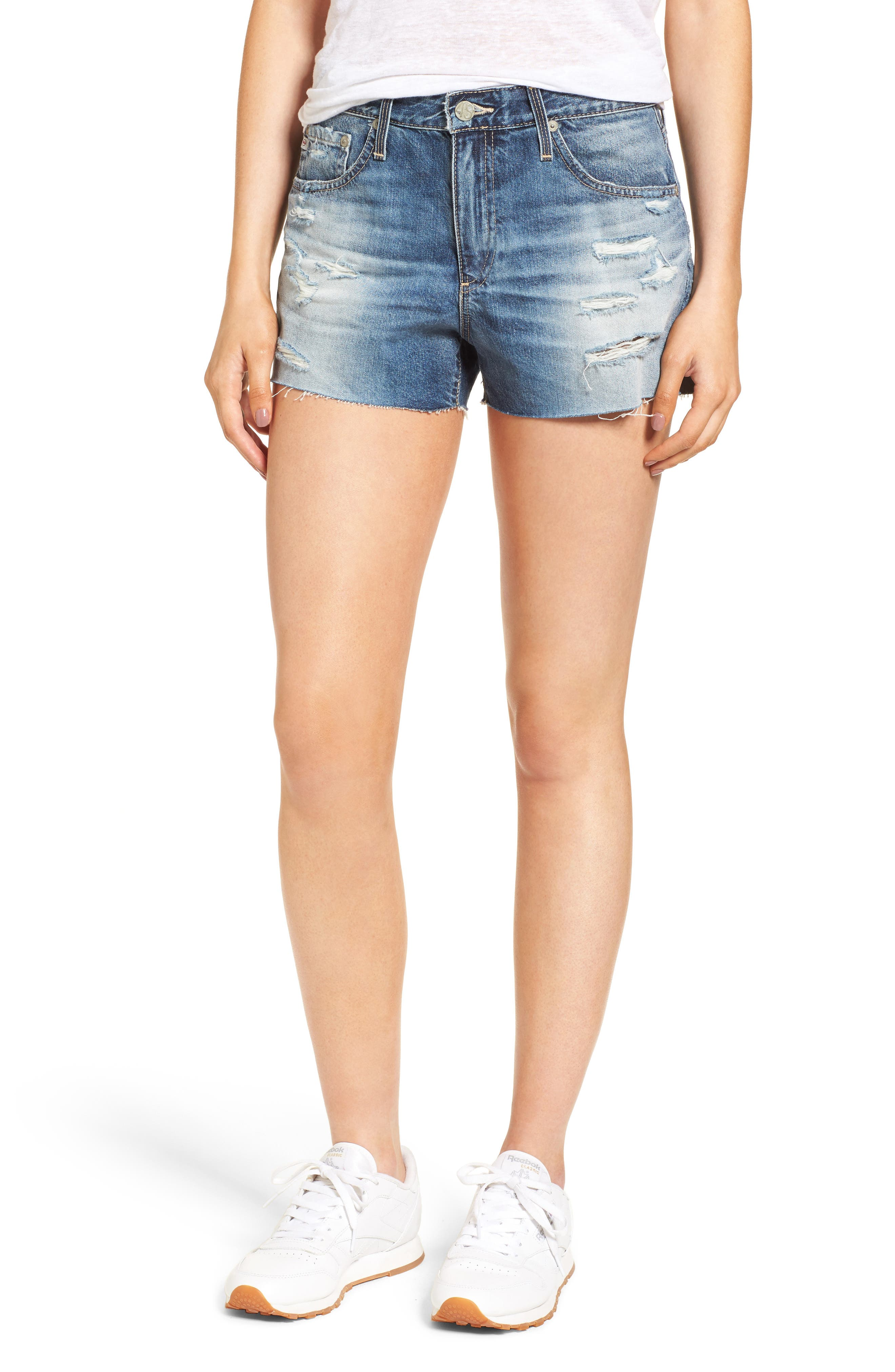 Bryn High Rise Cutoff Denim Shorts,                         Main,                         color, 19 Years Quilted Blue