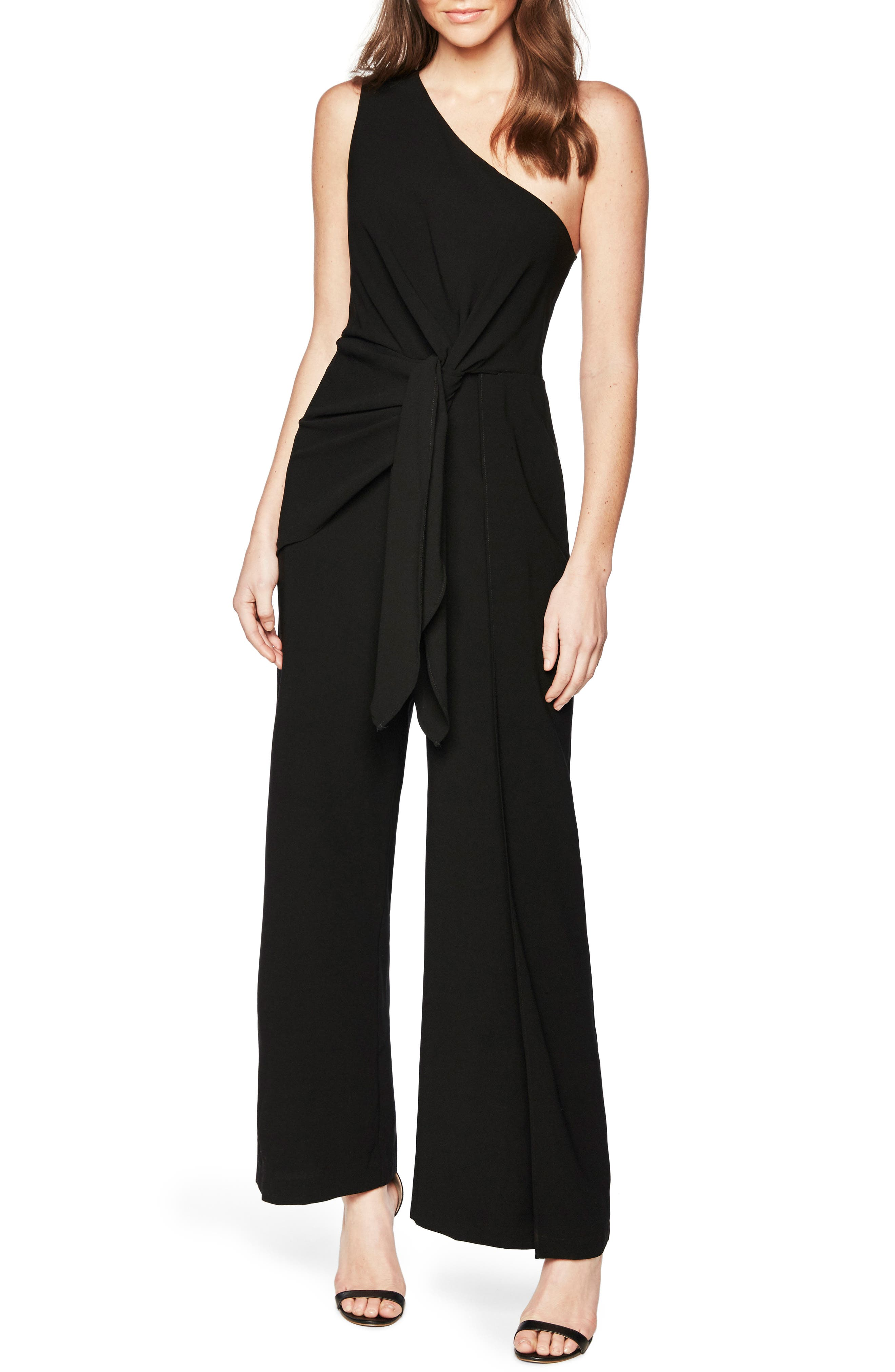 Bellini One-Shoulder Jumpsuit,                             Main thumbnail 1, color,                             Black