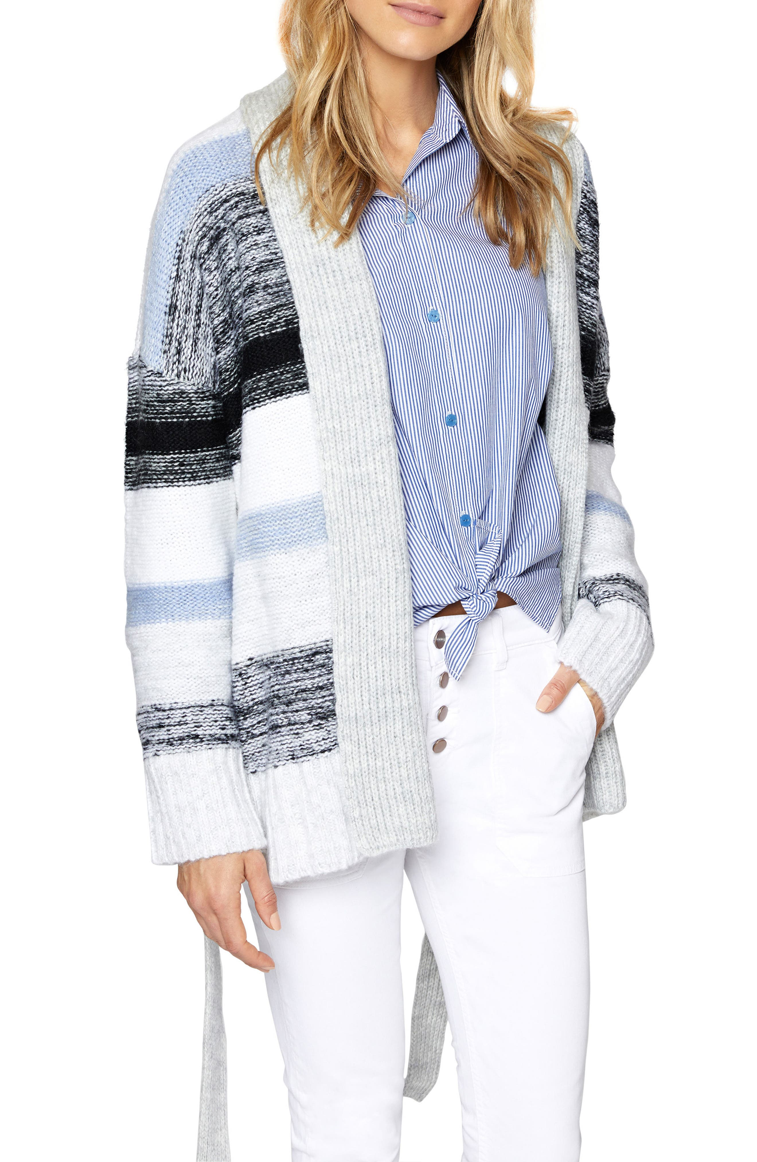 Sigrid Belted Knit Cardigan,                             Alternate thumbnail 3, color,                             Multi Colored